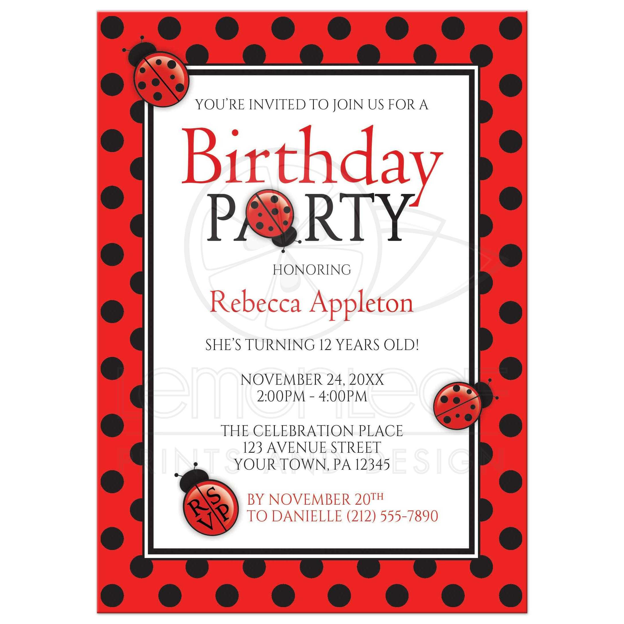50438 Rectangle Polka Dot Red And Black Ladybug Birthday Party Invitationst1497368656