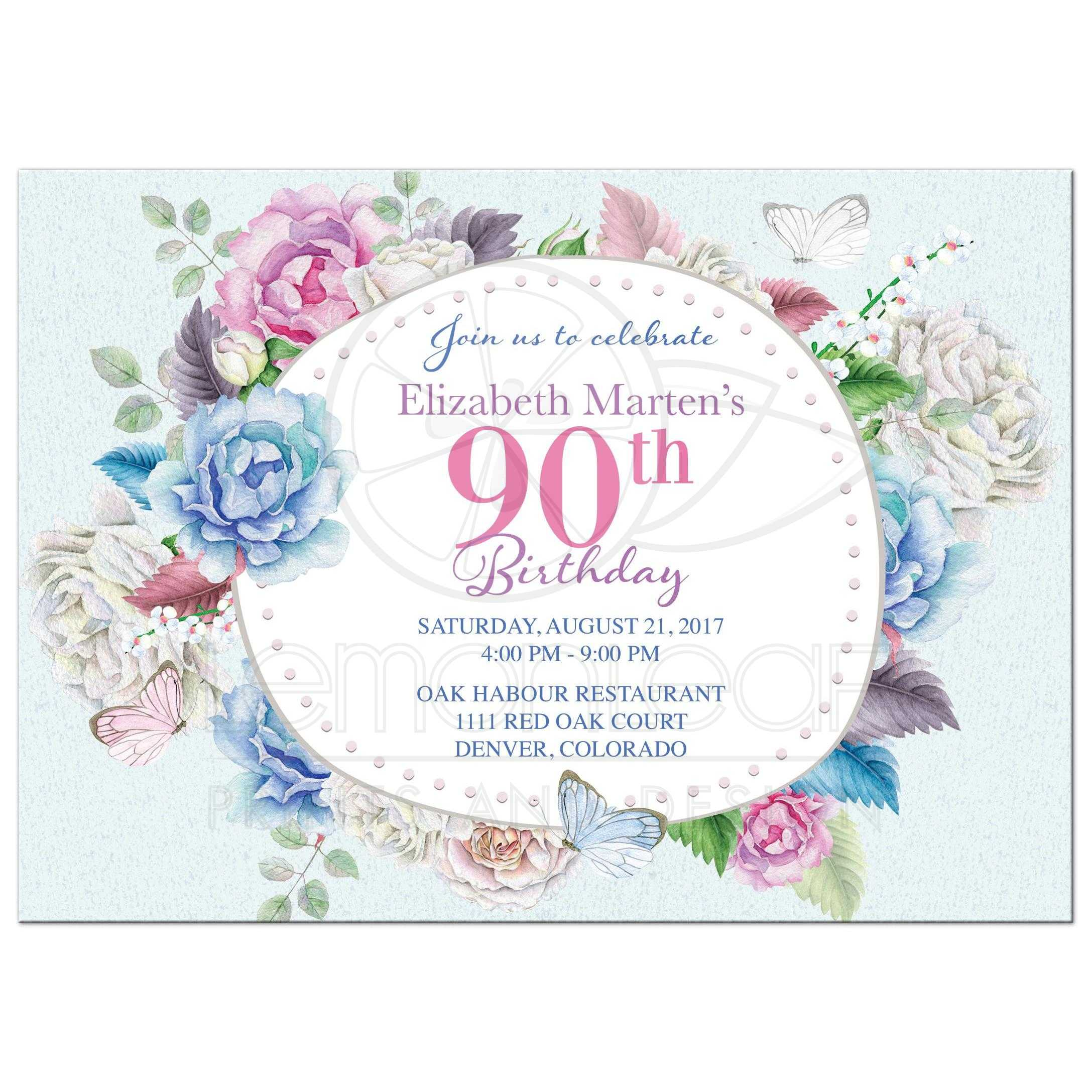 Watercolor Floral Rose Peony Butterfly 90th Birthday Invitation Front