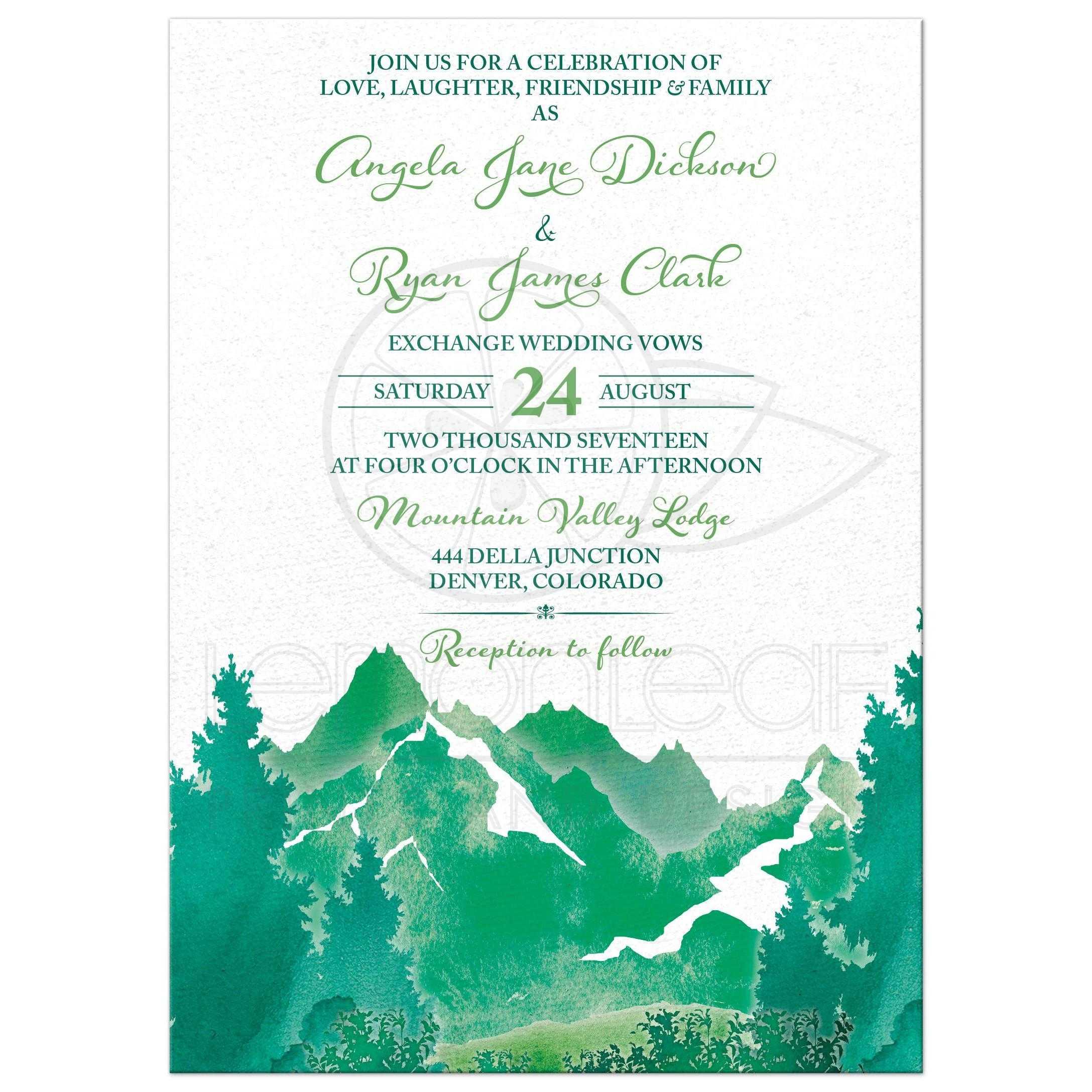 Mountain Wedding Invitation   Watercolor   Shades of Green
