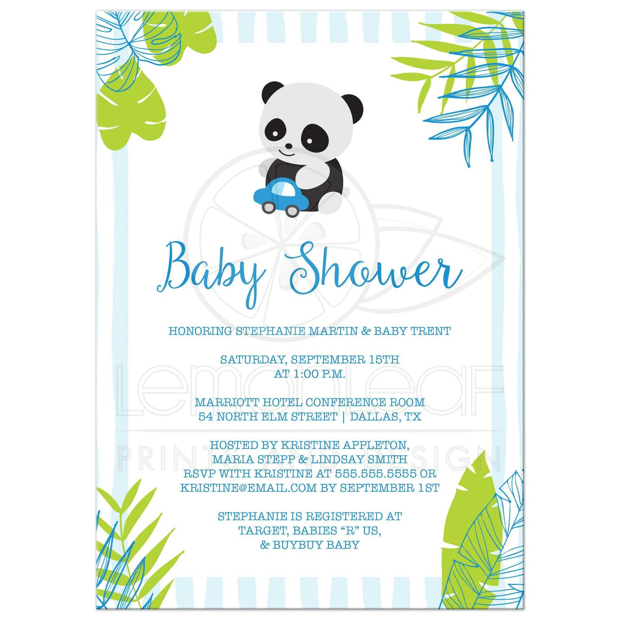 Tropical Panda Boy Baby Shower Invitation - Blue and Green