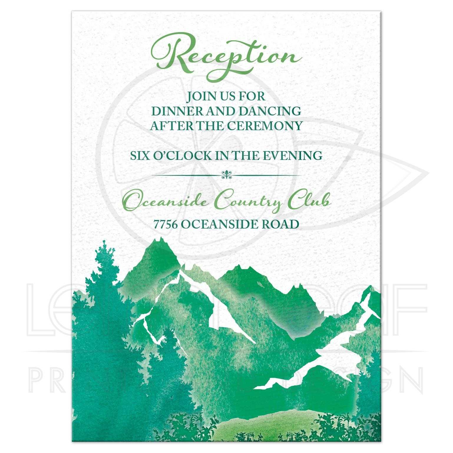 mountain wedding reception insert card watercolor shades of green