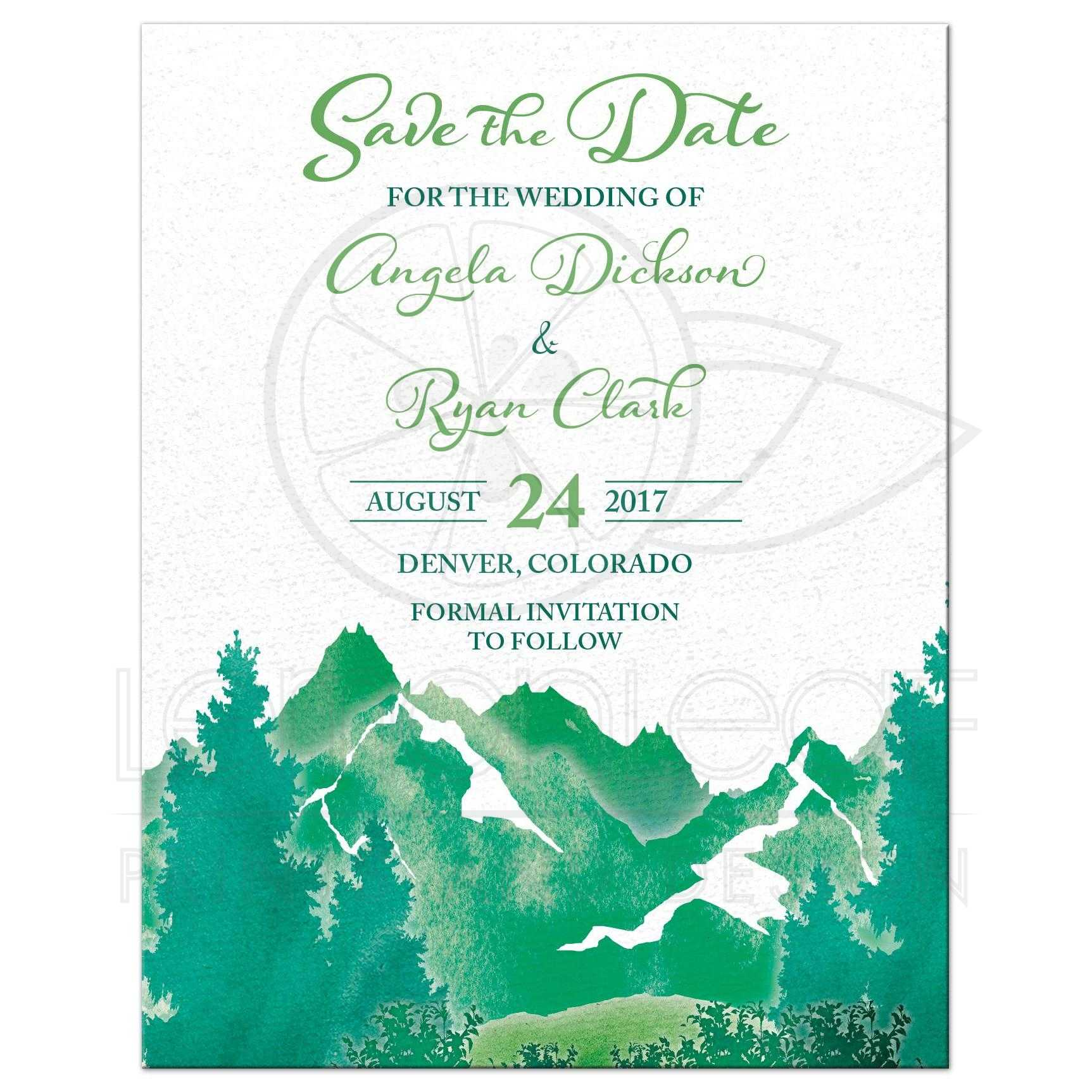 Mountain Wedding Save the Date Invite | Watercolor | Shades of Green