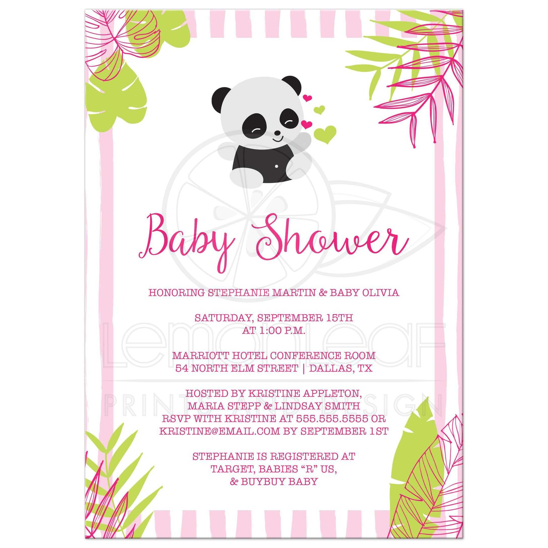 Tropical Panda Girl Baby Shower Invitation - Pink and Green