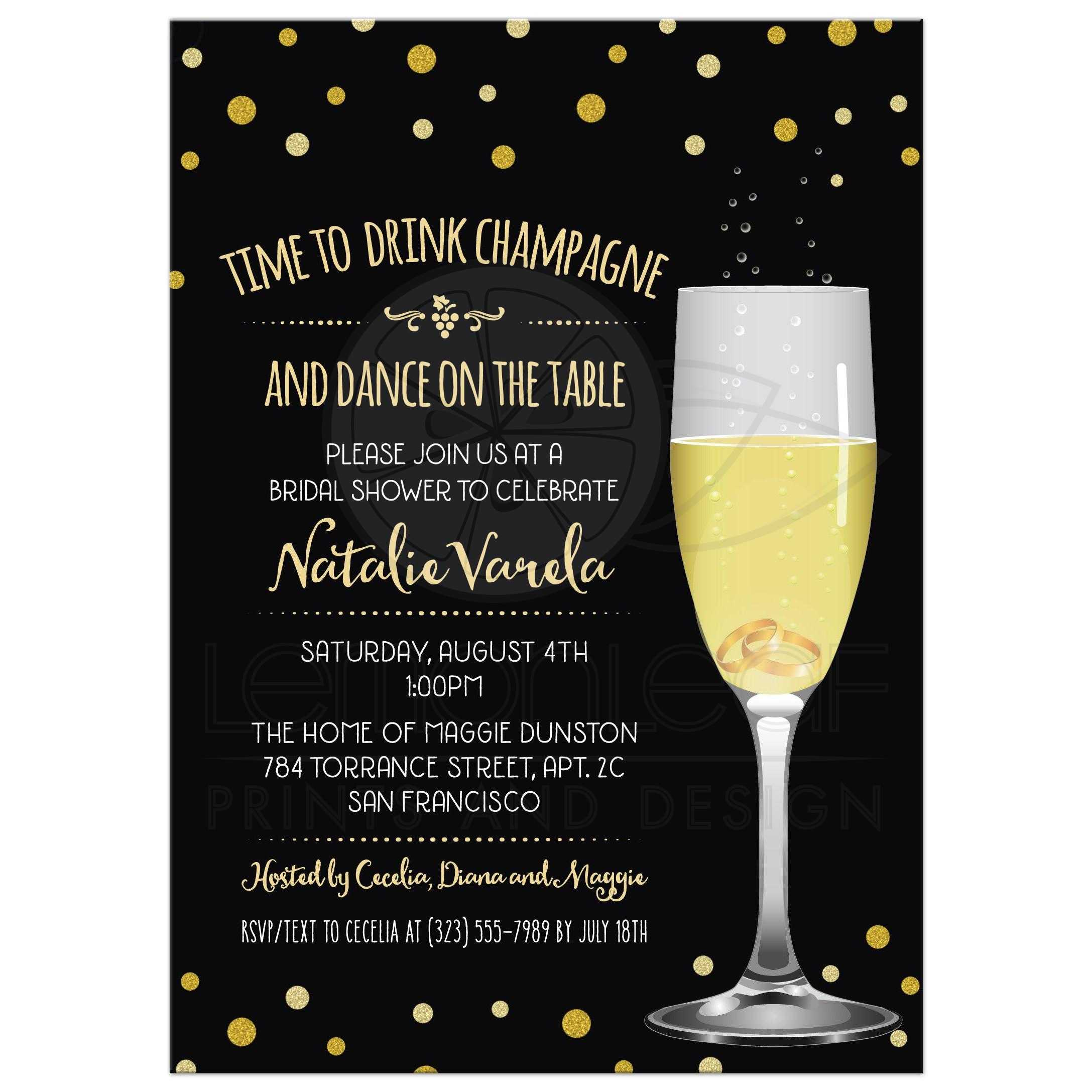 wedding rings in champagne glass bridal shower invitation faux gold glitter look