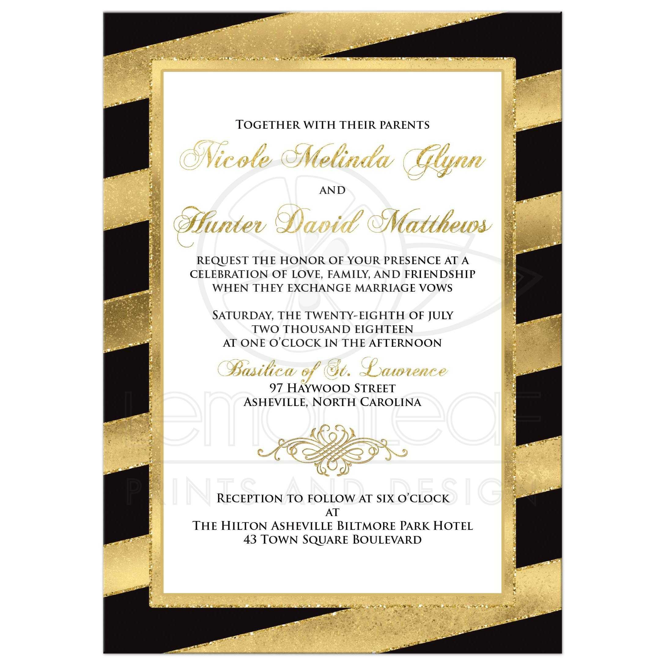 bold diagonal stripes wedding invitation black gold white