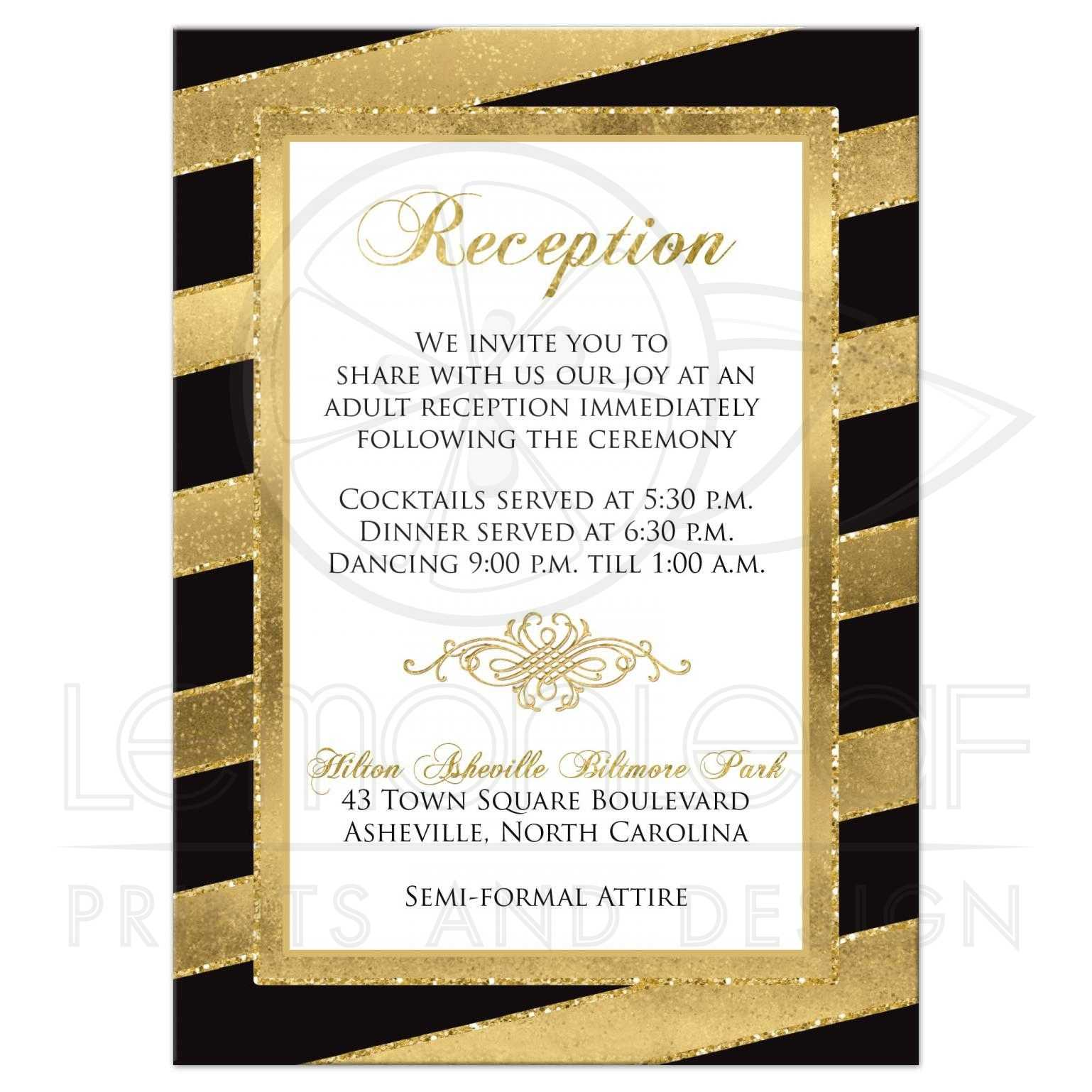 Bold Stripes Wedding Enclosure Card | SIMULATED Glitter, Gold Foil ...