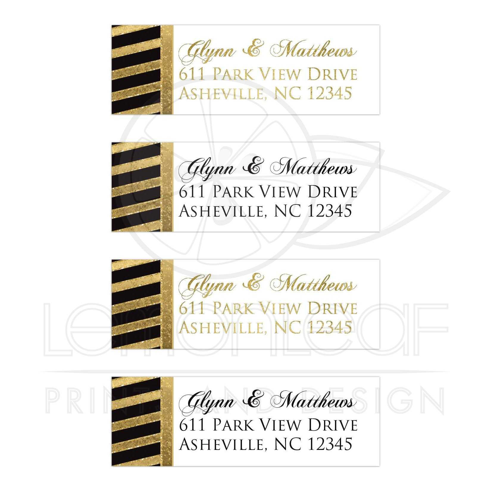 bold stripes address labels black white gold simulated gold