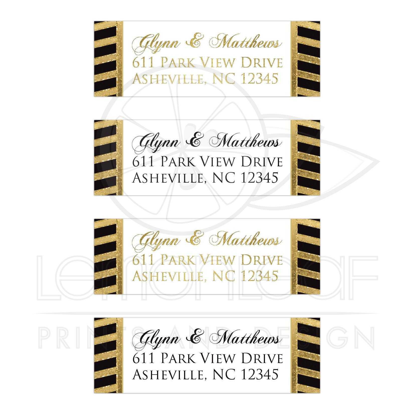 Bold Striped Address Labels | SIMULATED Gold Foil, Glitter | Black ...