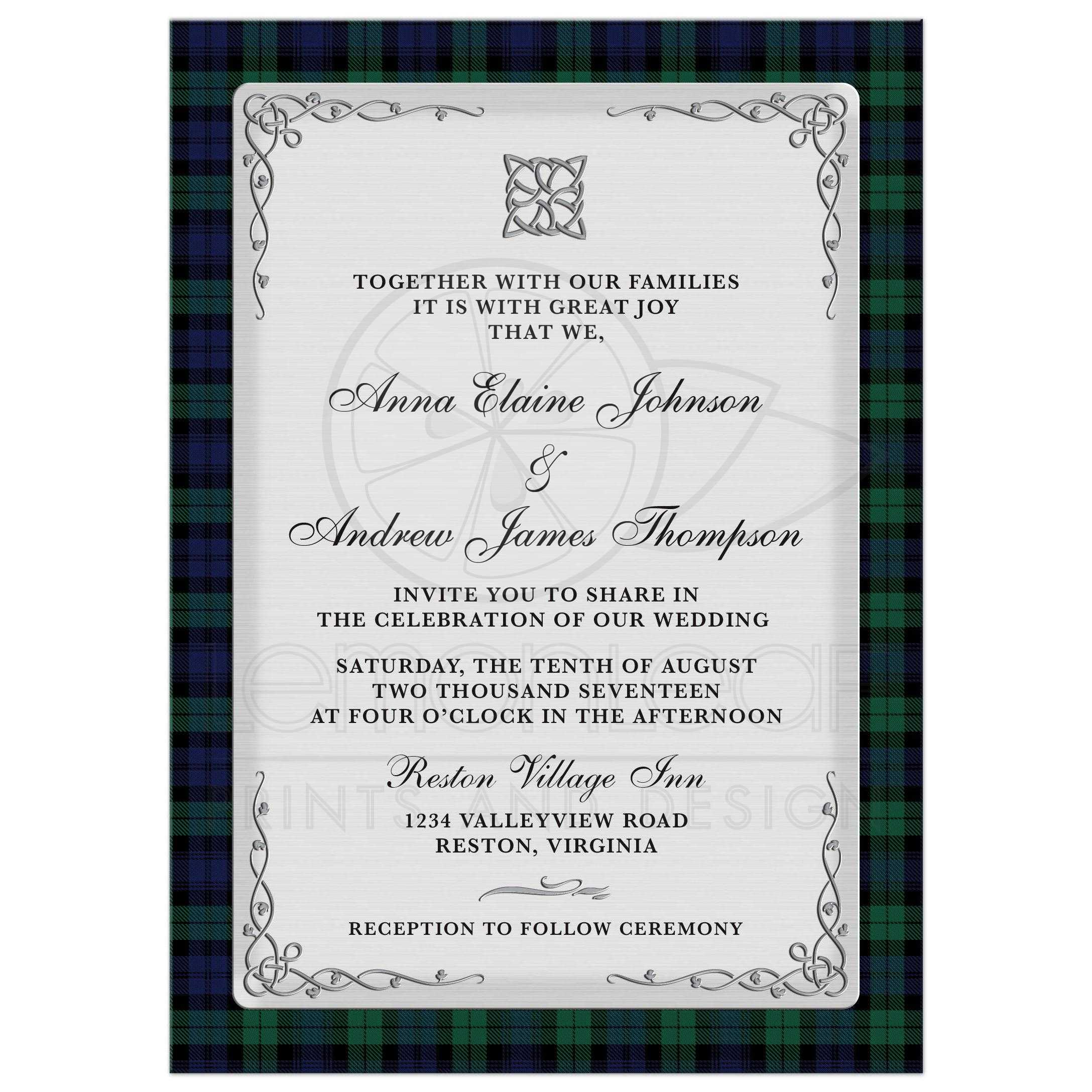 Scottish Campbell Black Watch Tartan Wedding Invitation Celtic Knot ...