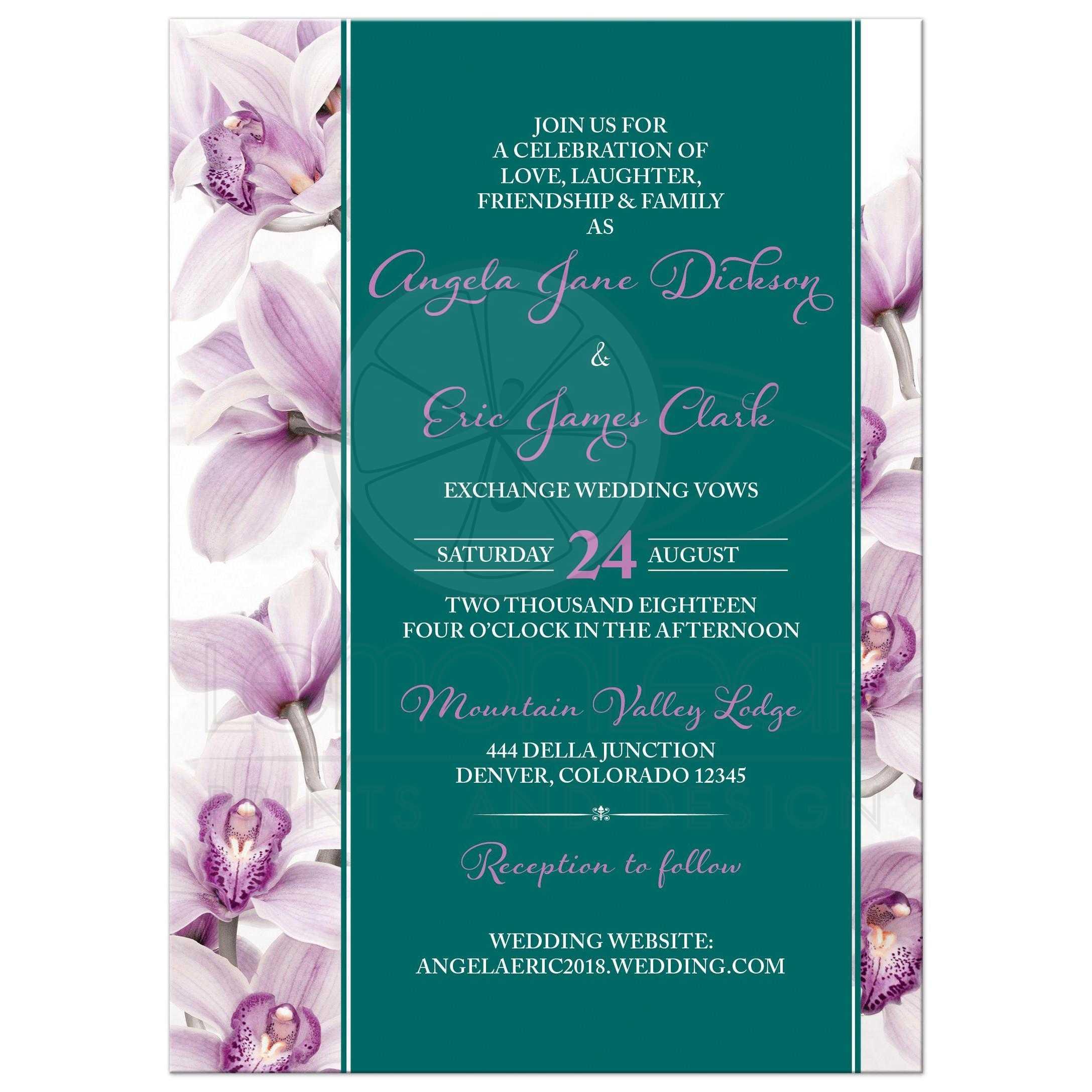 Elegant Purple Teal Cymbidium Orchid Wedding Invitation Portrait Front