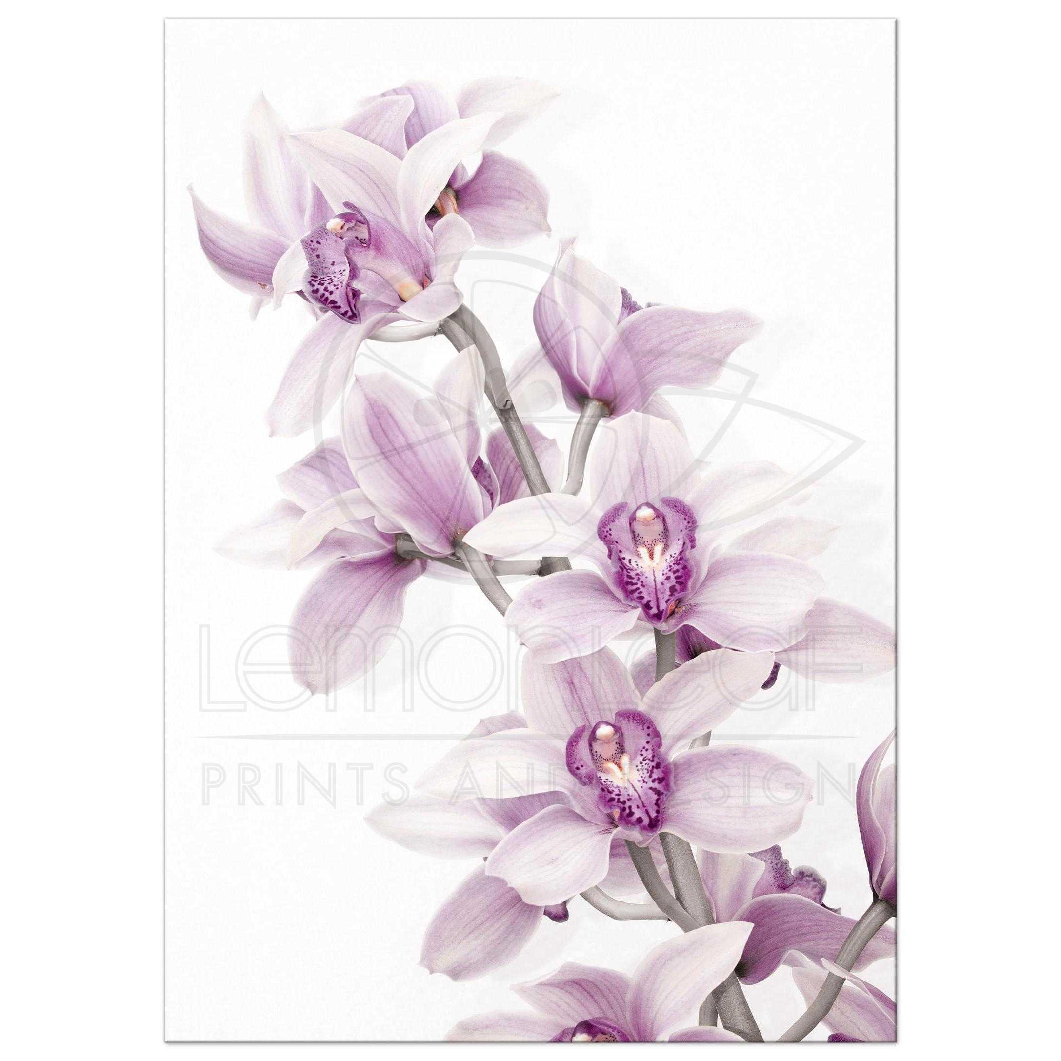 Teal Purple Orchid Wedding Invitation Portrait Version