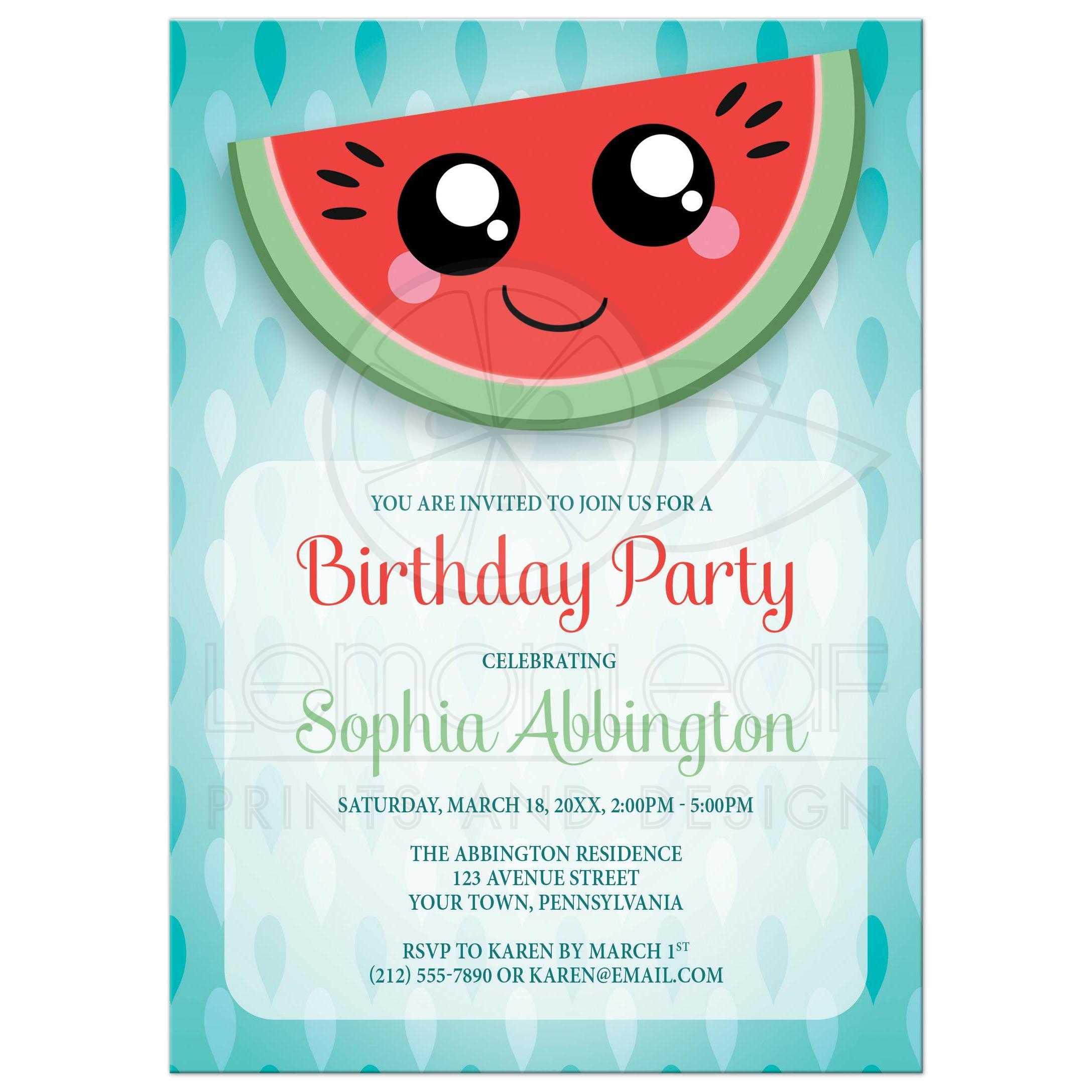 birthday party invitations happy smiling watermelon slice