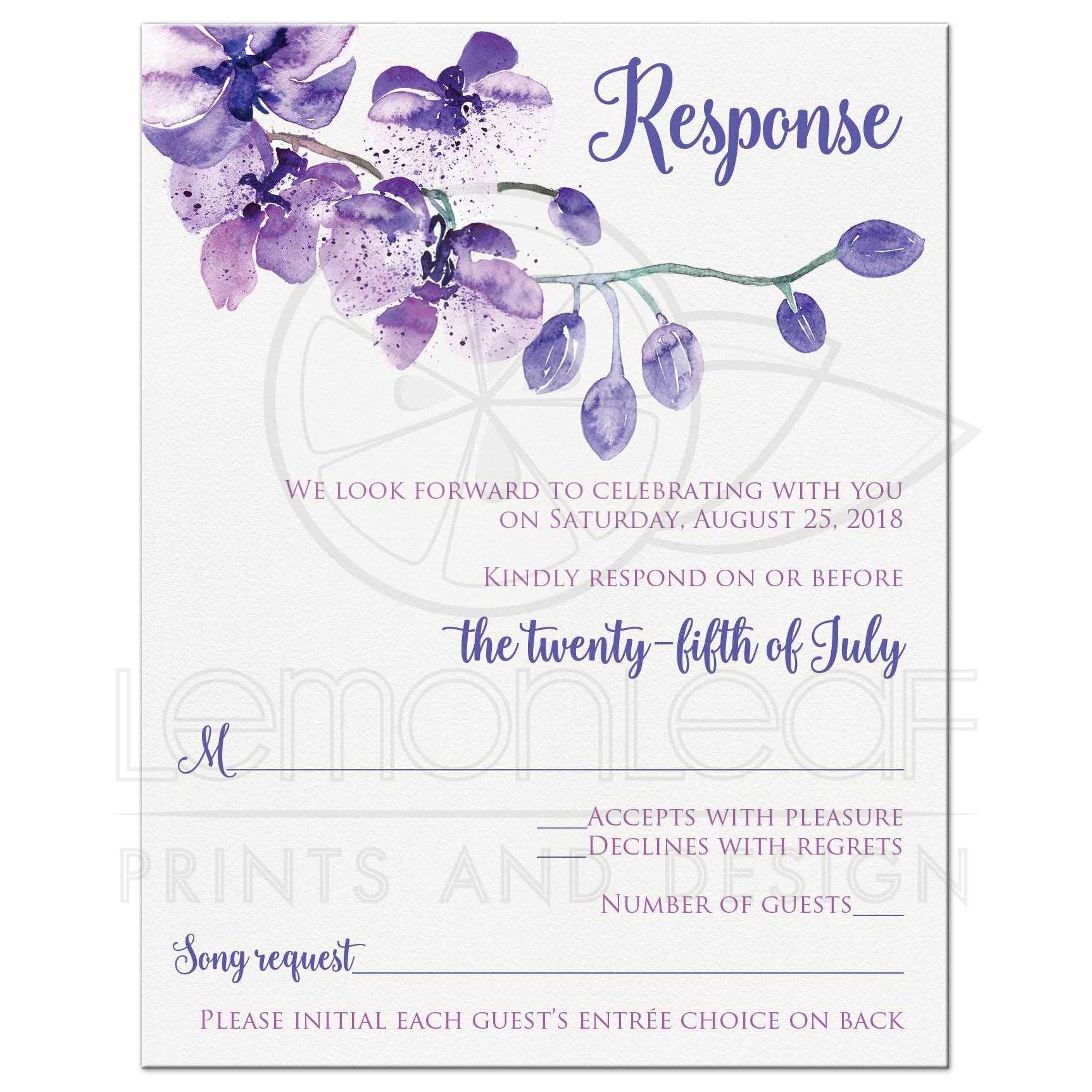 Pretty Purple Watercolors Orchids Wedding Response Card