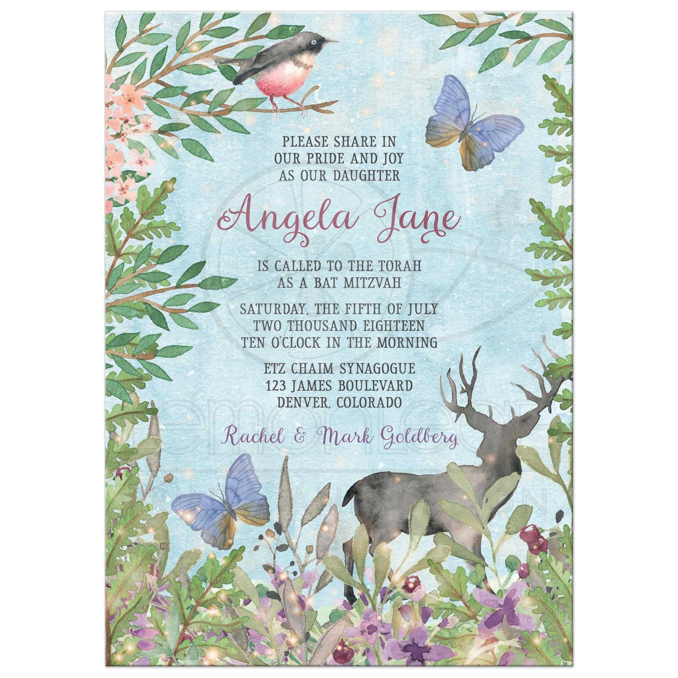 Enchanted Forest Bat Mitzvah Invitation Bird Deer Butterfly Woodland