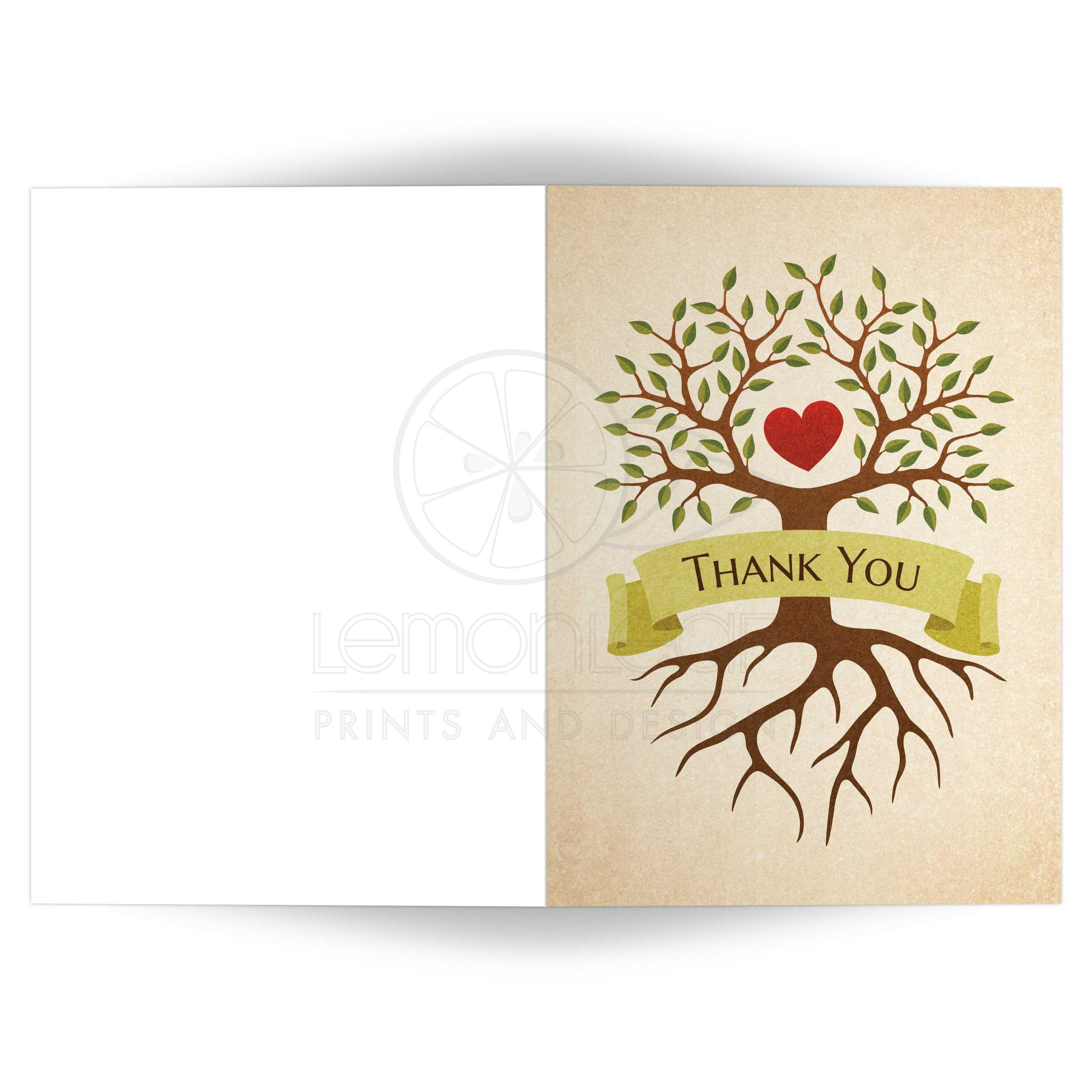 Folded Thank You Card With Beautiful Heart Tree