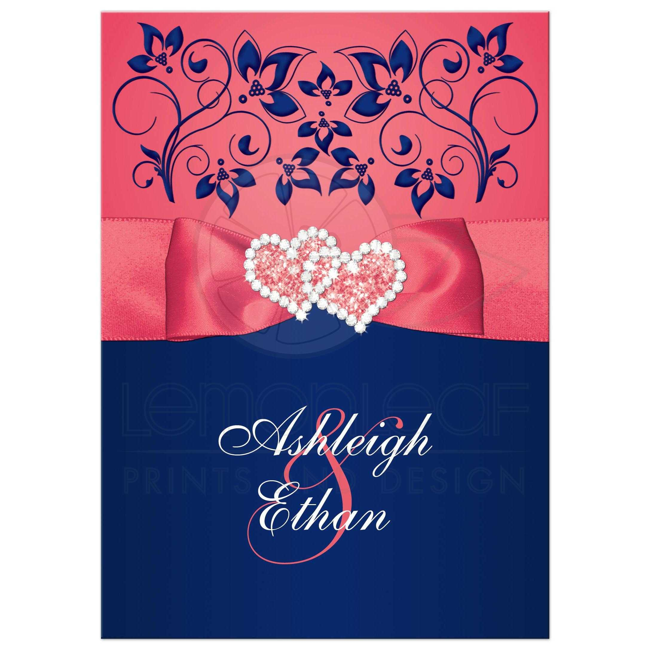Coral And White Wedding Invitations: Coral Pink And Navy Floral Joined Hearts, PRINTED Ribbon