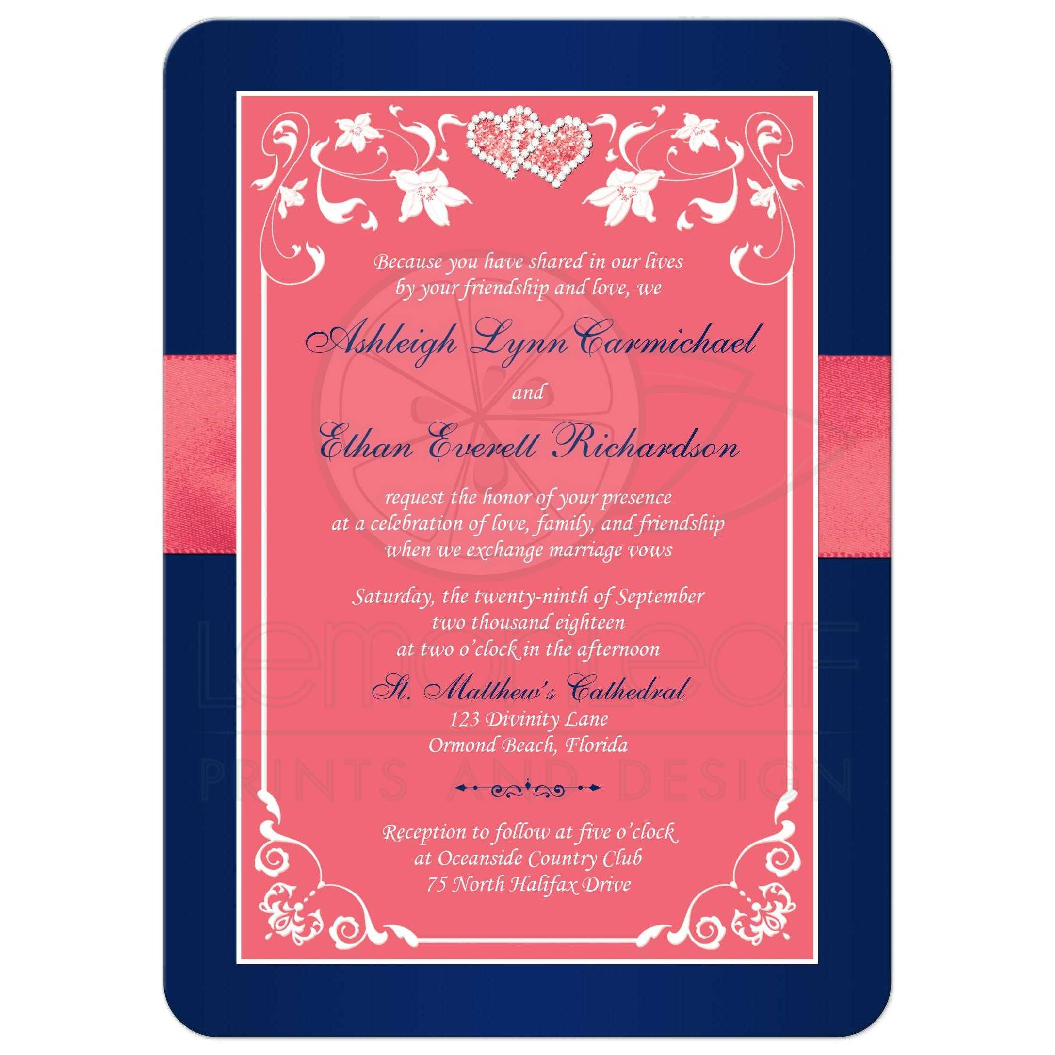 Coral Pink and Navy Floral Joined Hearts, PRINTED Ribbon Wedding ...