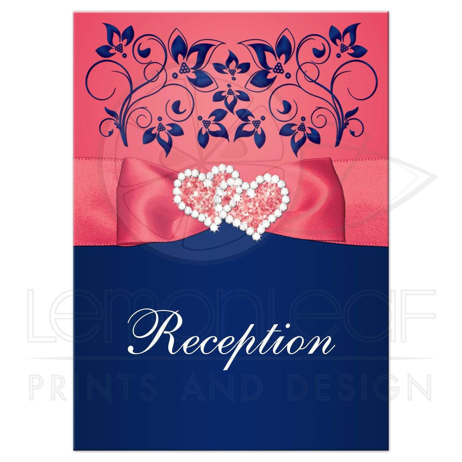 Wedding Reception Enclosure Card | Coral Pink, Navy Blue Printed ...