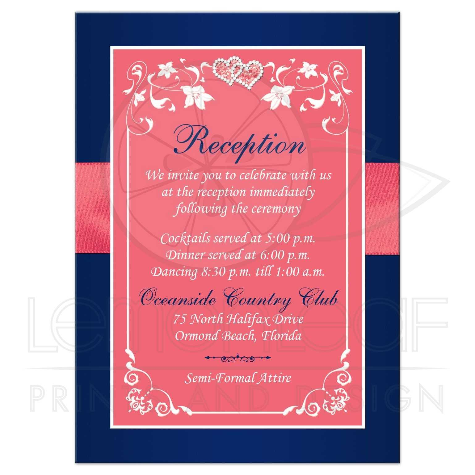 Wedding Reception Enclosure Card | Coral Pink, Navy Blue Printed ...