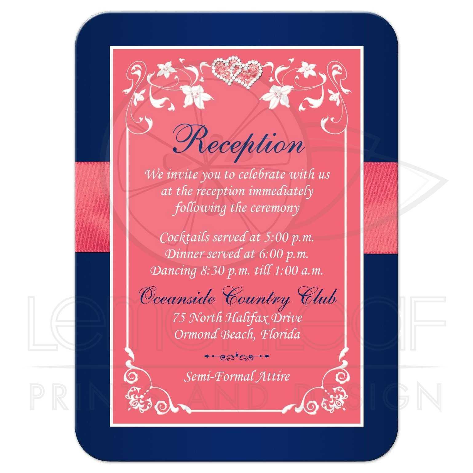 Wedding Reception Enclosure Card   Coral Pink, Navy Blue Printed ...
