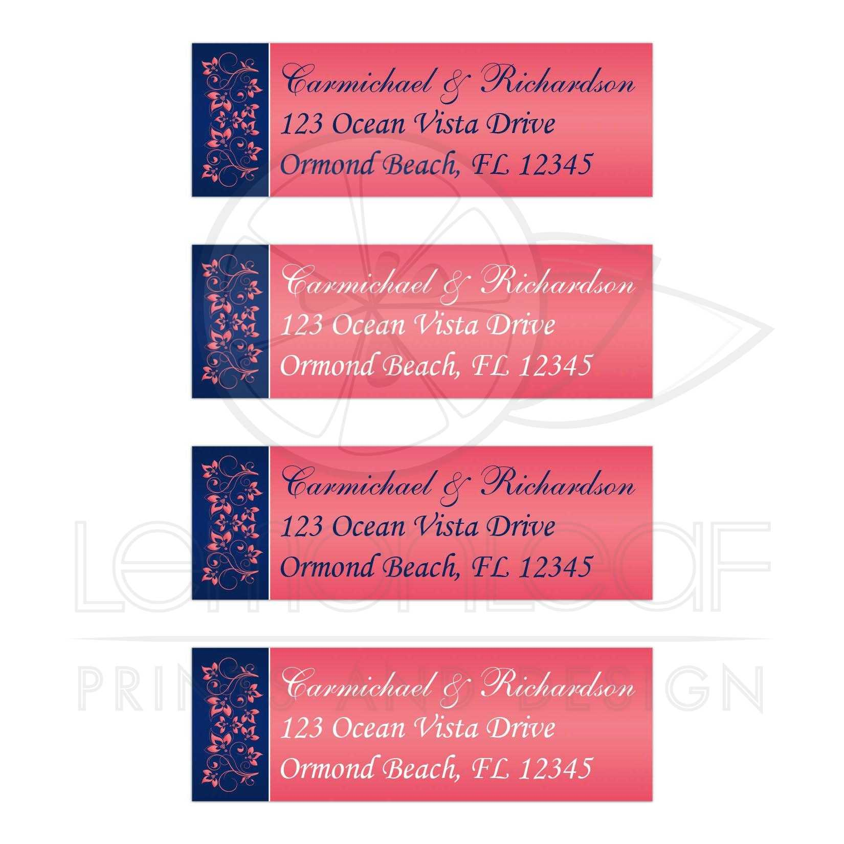 Personalized Navy Blue, White, Coral Pink Floral Return Address ...