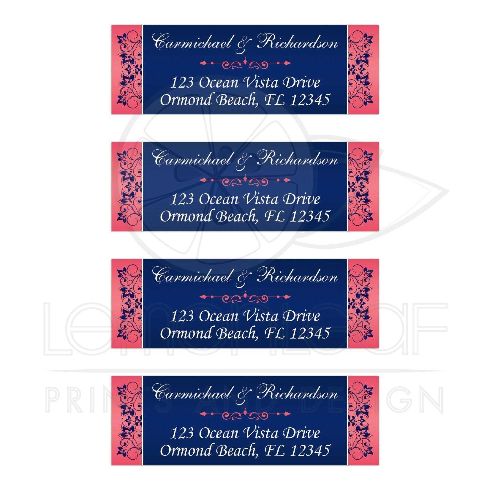 coral pink navy blue white floral return address mailing labels
