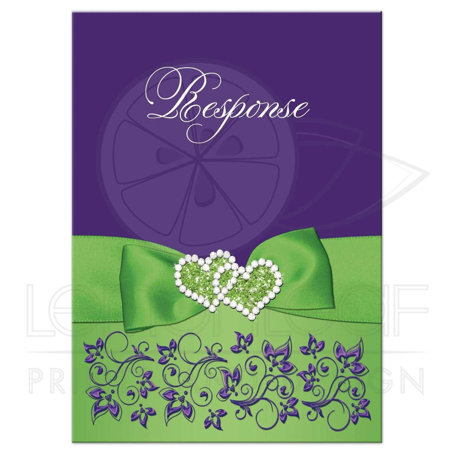 chartreuse green purple white floral wedding response card