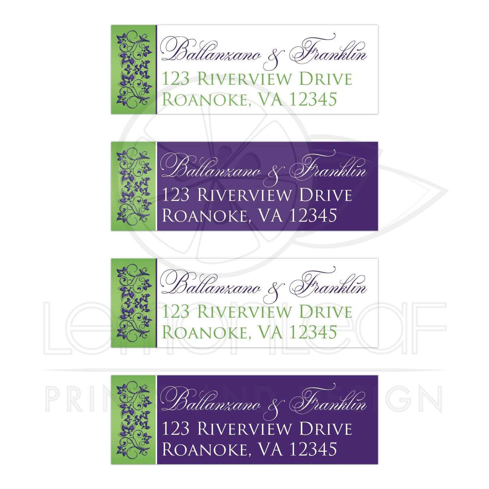 purple white lime green floral return address mailing labels