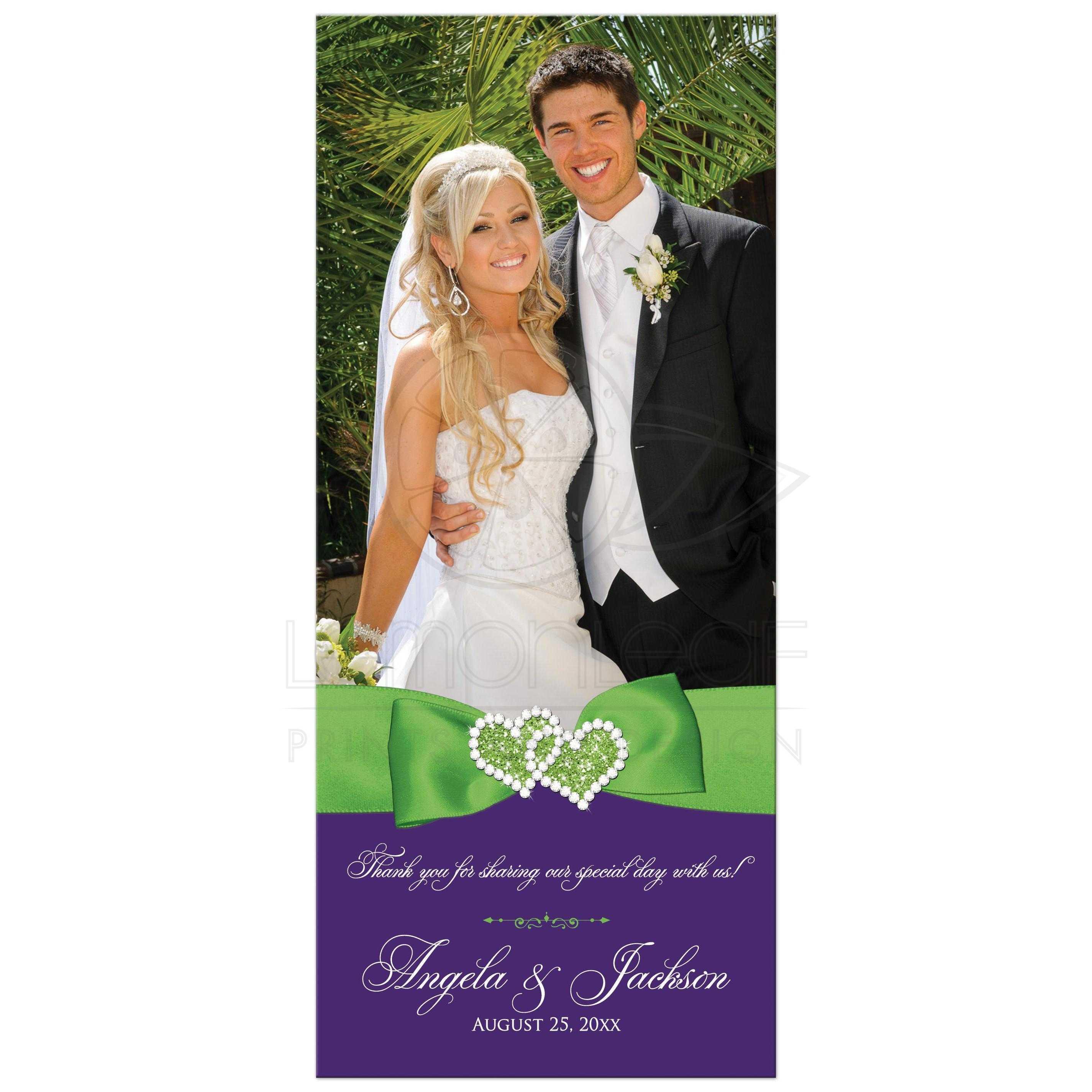 Photo Template Purple Lime White Fl Wedding Thank You Card Flat Printed Jewels Ribbon Glitter Hearts