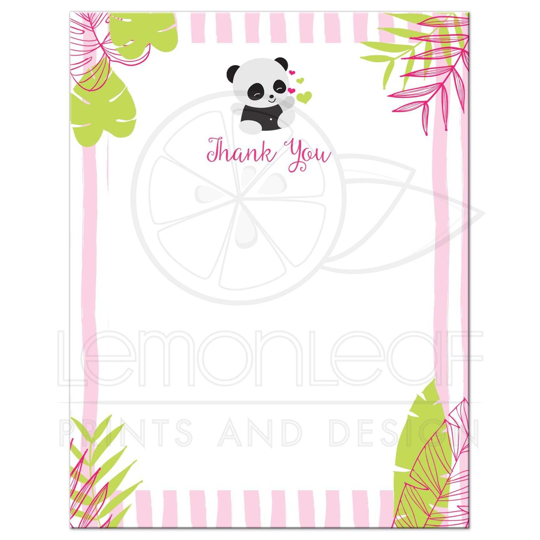 Tropical Panda Baby Shower Thank You Cards Pink And Green