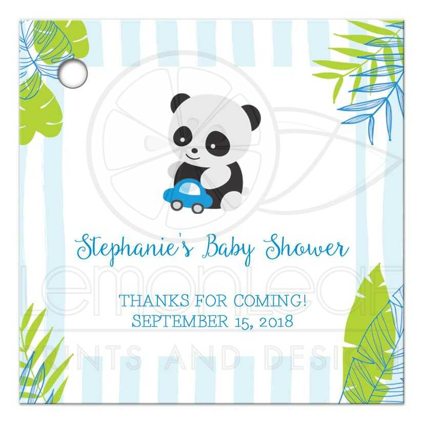 Panda Baby Shower Thank You Favor Gift Tags - Blue and Green