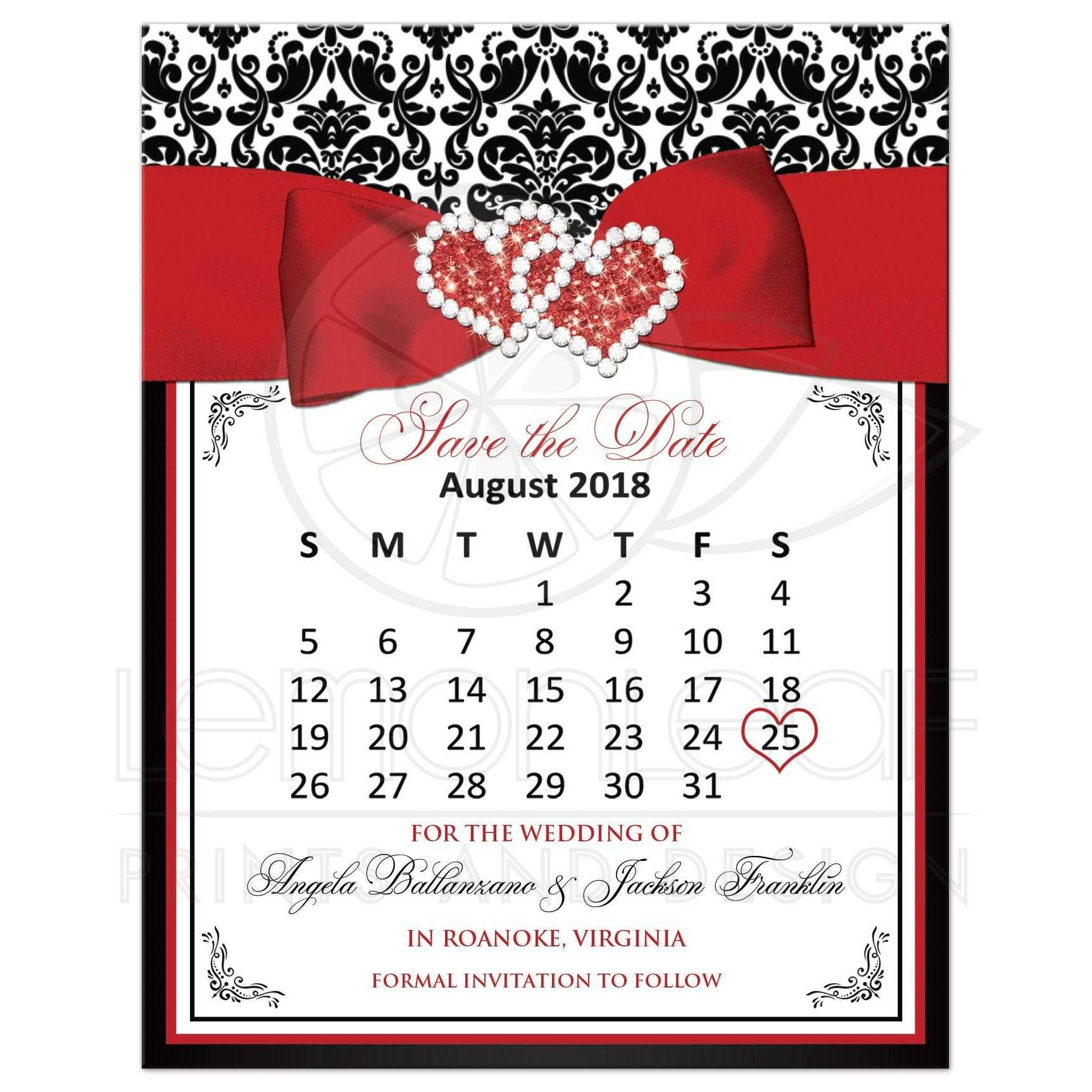 black and white damask wedding save the date mini calendar card with red ribbon