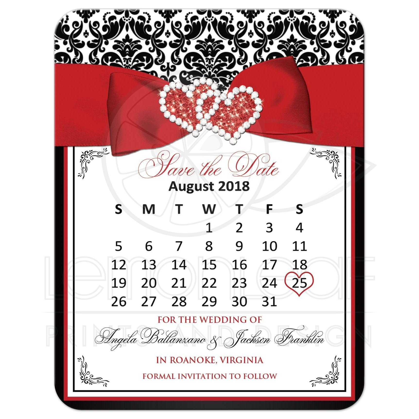Customizable Black, White, Red Damask Save the Date Card | PRINTED ...