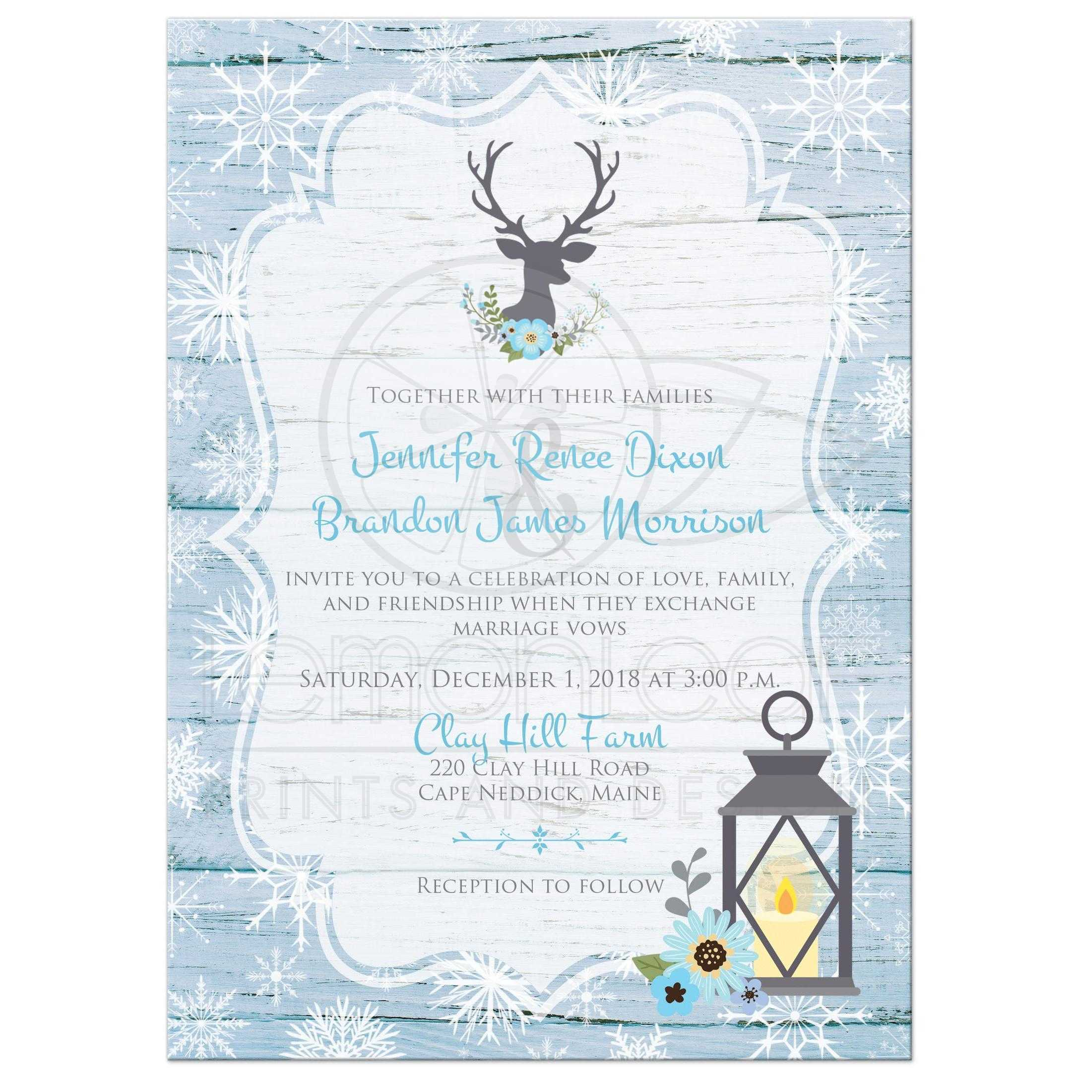 Rustic Blue And White Snowflakes Winter Wedding Invitation With Flowers Gray Deer Head