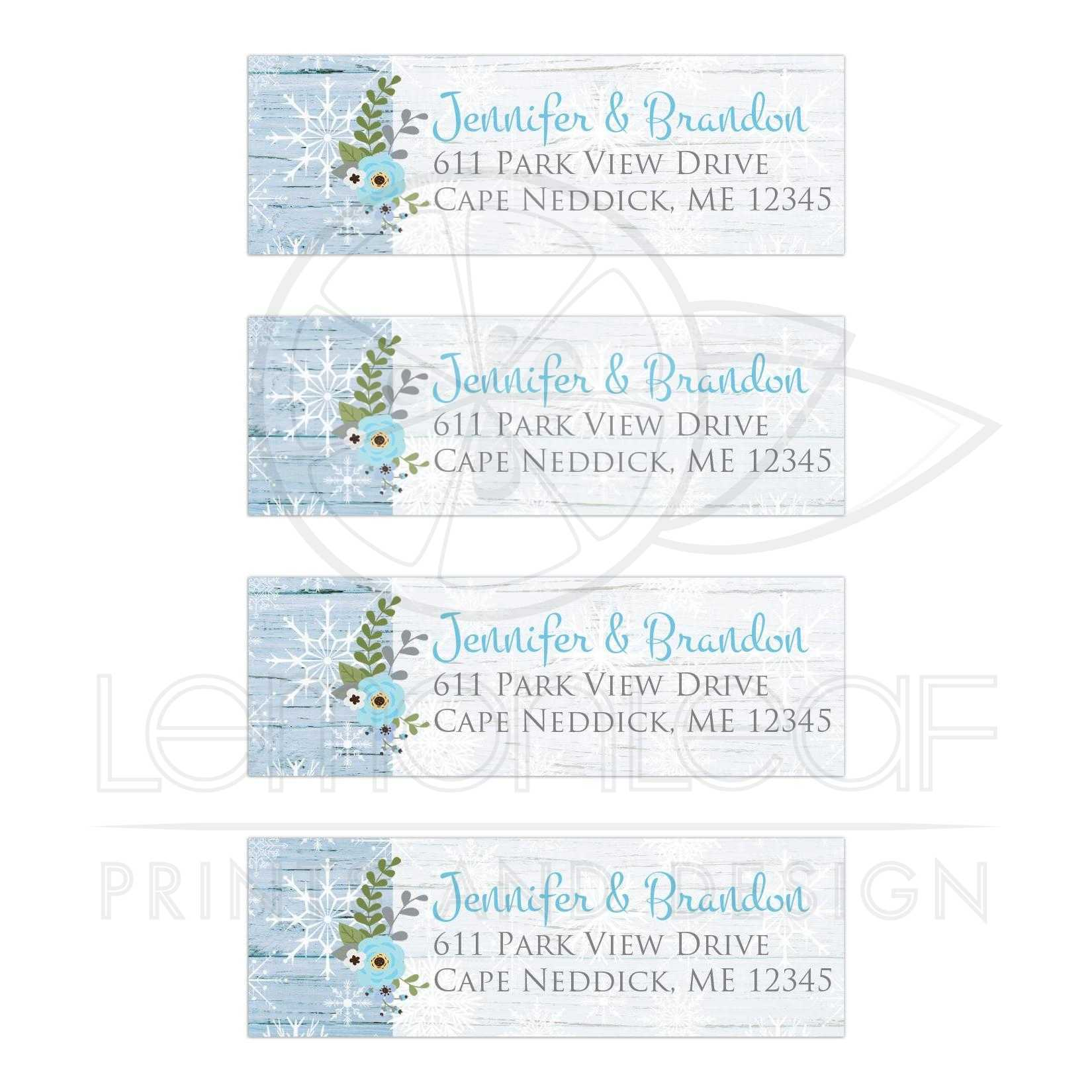 blue faux wood winter wedding address labels snowflakes floral