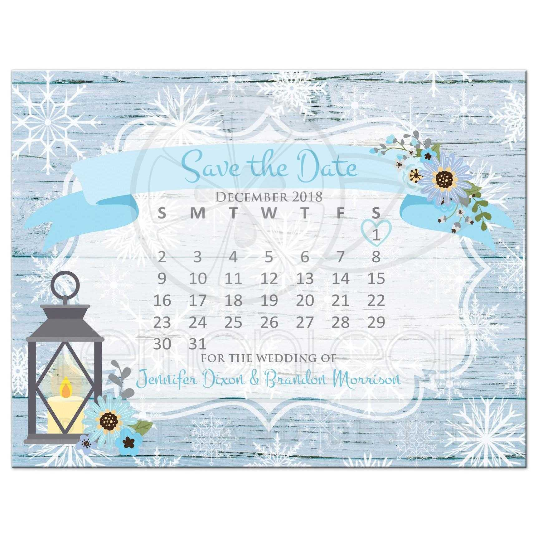 rustic blue and white snowflakes winter wedding save the day postcard with mini calendar