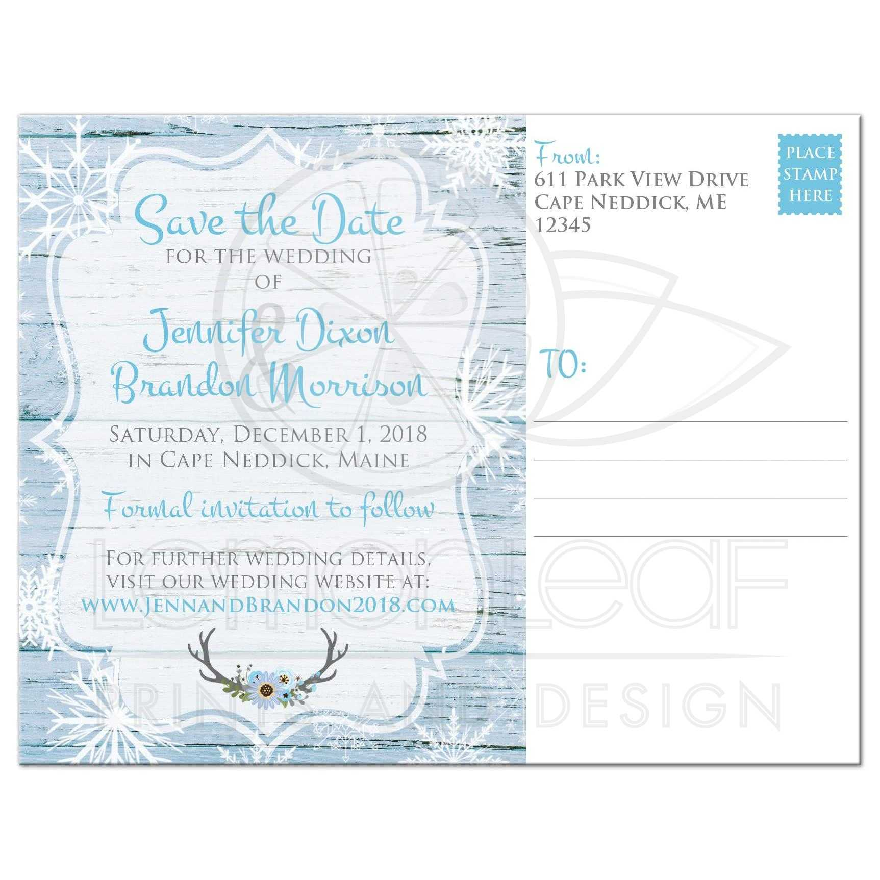 Boho Chic Rustic Winter Wedding Save the Date Calendar Post Card – Winter Wedding Save the Date