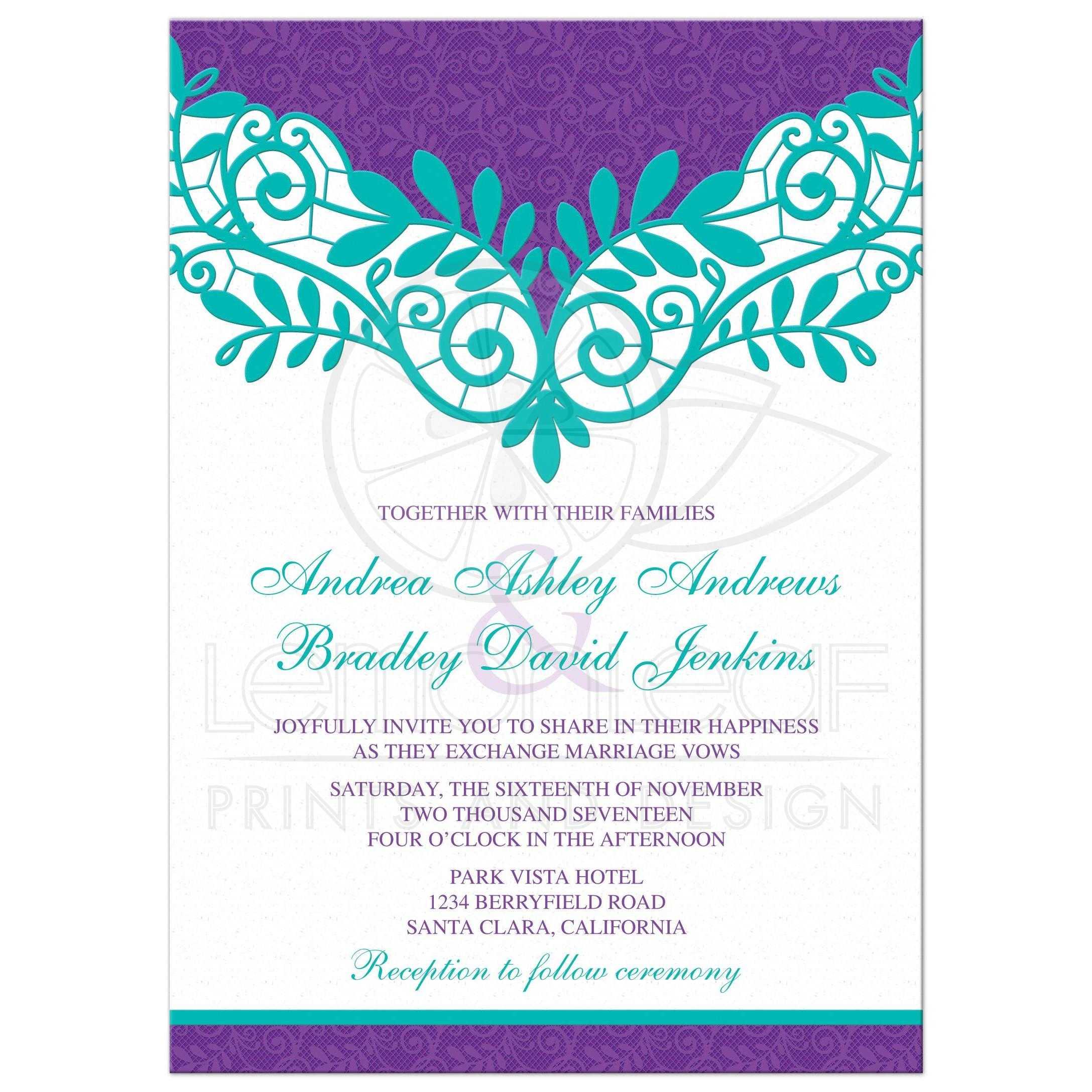 Teal Purple Lace Wedding Invitation