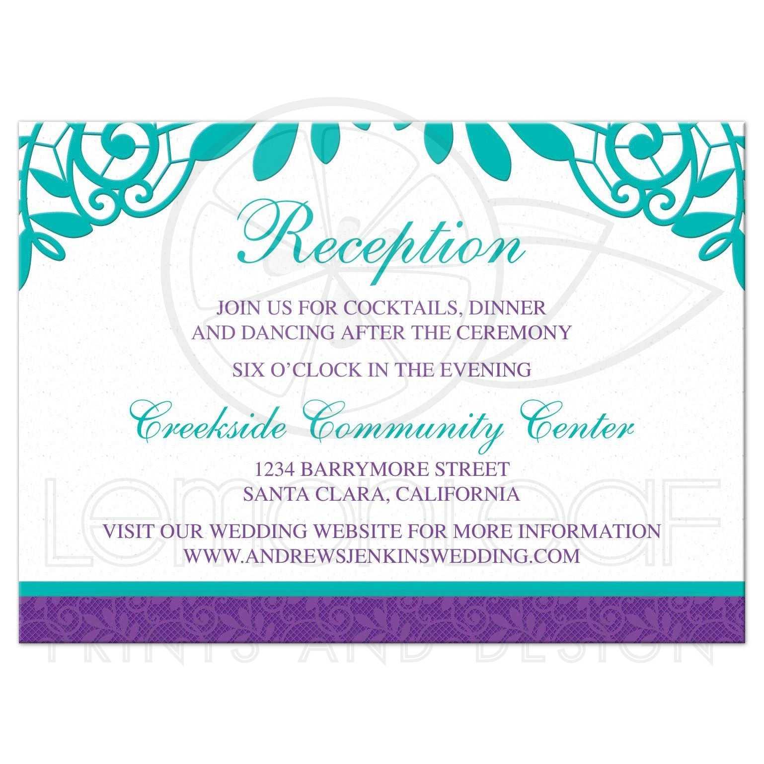 Turquoise Purple Lace Wedding Reception Card