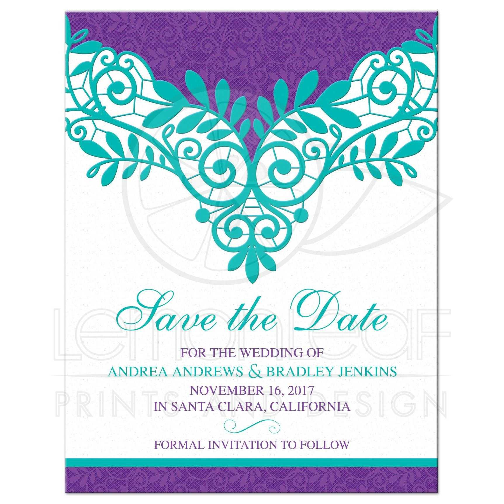 Teal Purple Lace Wedding Save The Date