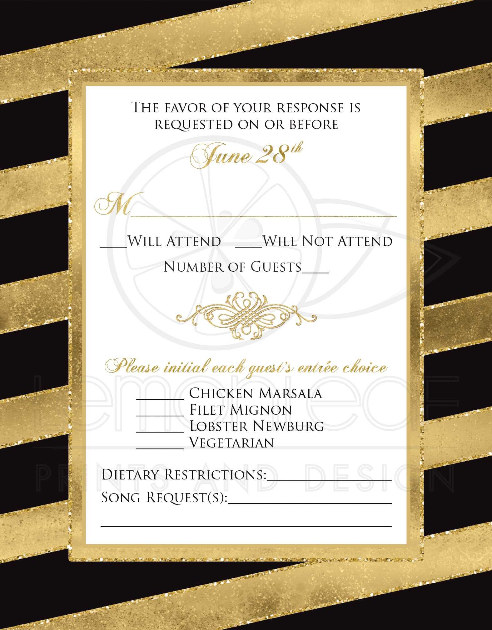 Bold Striped Wedding RSVP Card   SIMULATED Gold Foil, Glitter ...