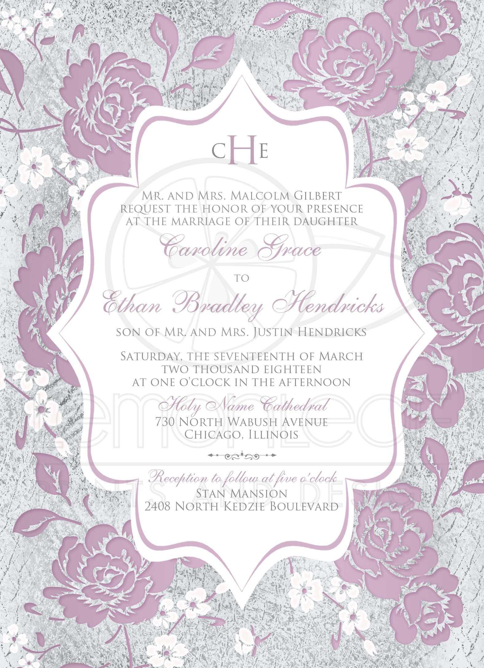 Mauve Floral Monogrammed Wedding Invitation