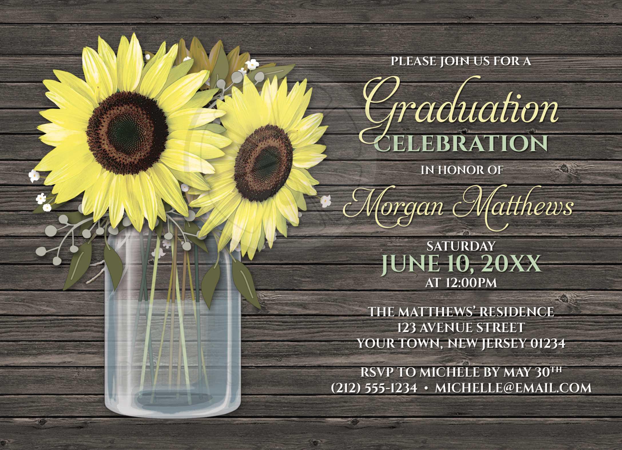 Graduation Invitations - Rustic Sunflower Wood Mason Jar