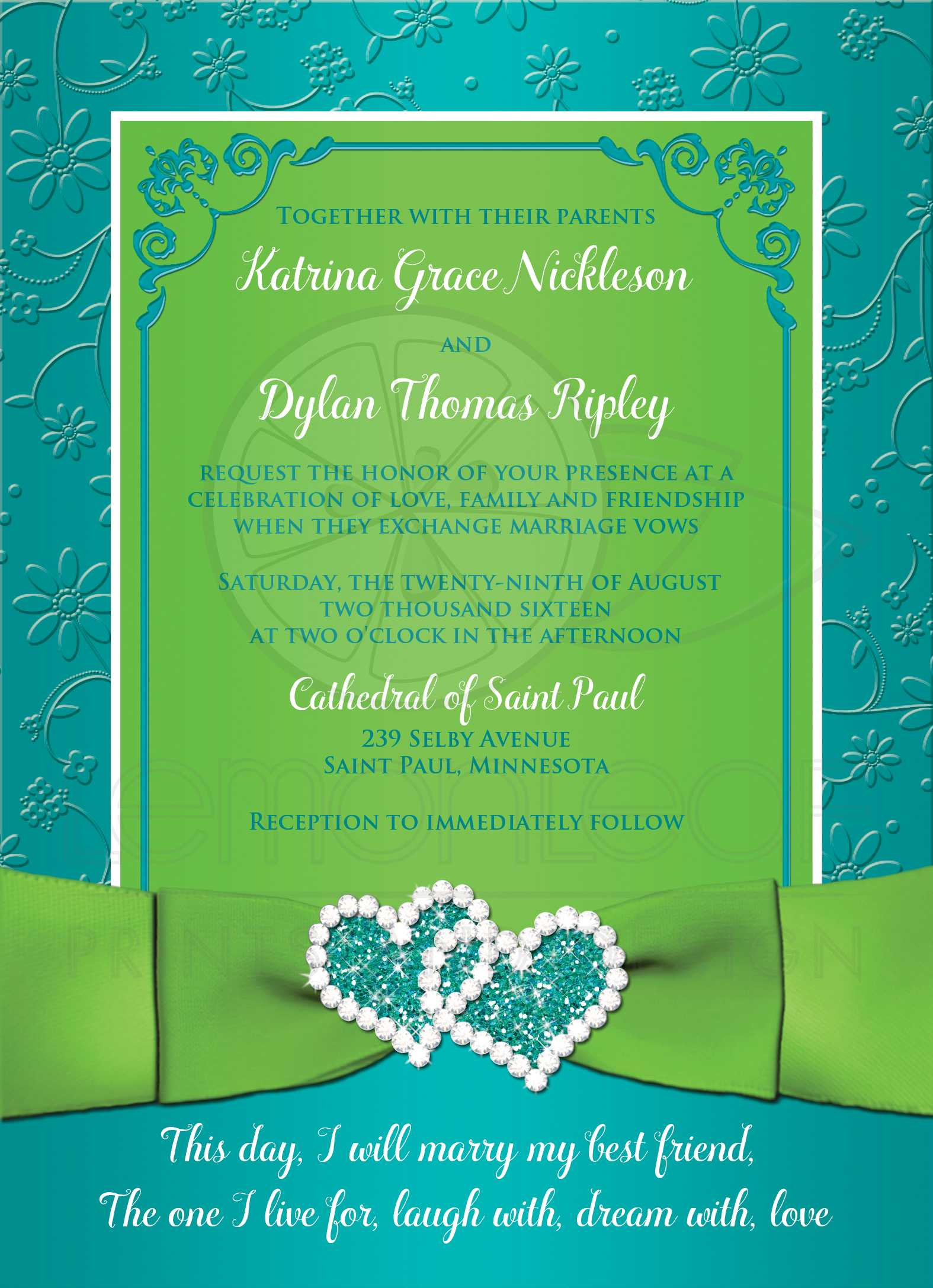 Turquoise Lime Floral Wedding Invitation