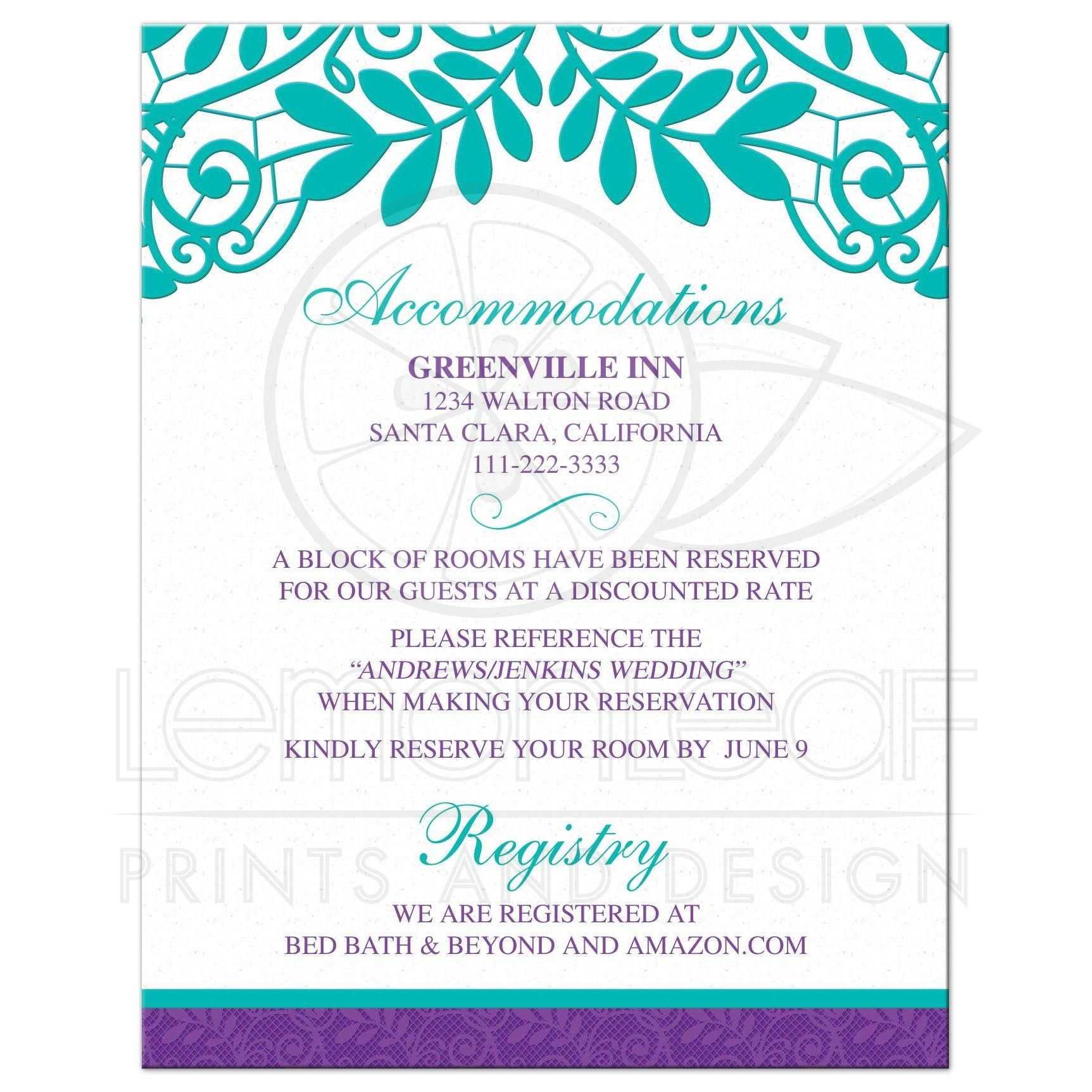 Teal Purple Vintage Lace Wedding Details Card