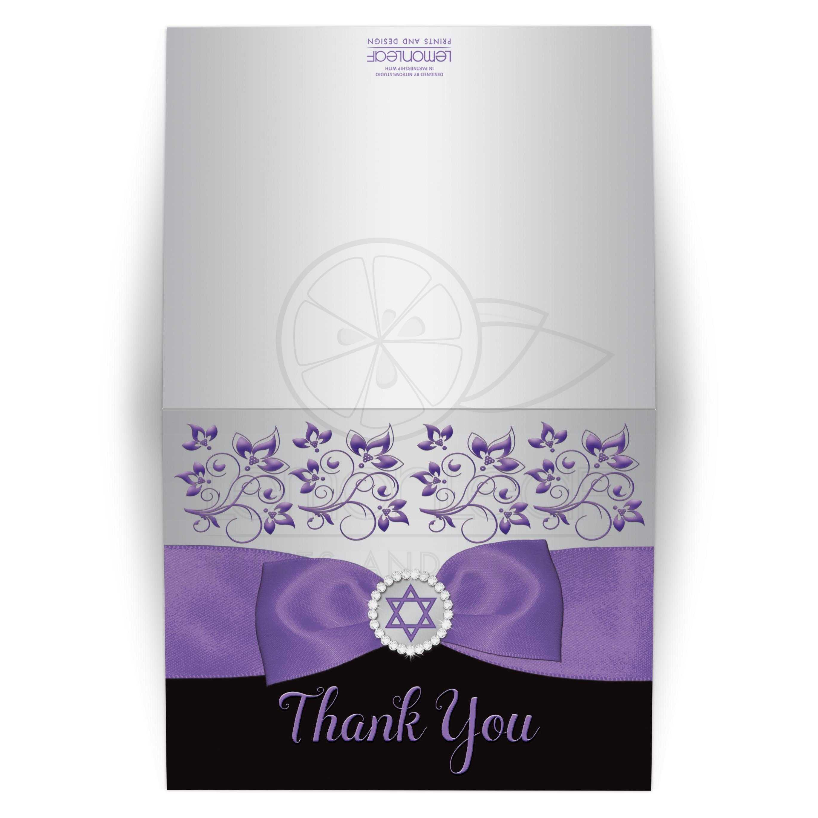 Black Silver Gray And Purple Bat Mitzvah Thank You Card With Ribbon