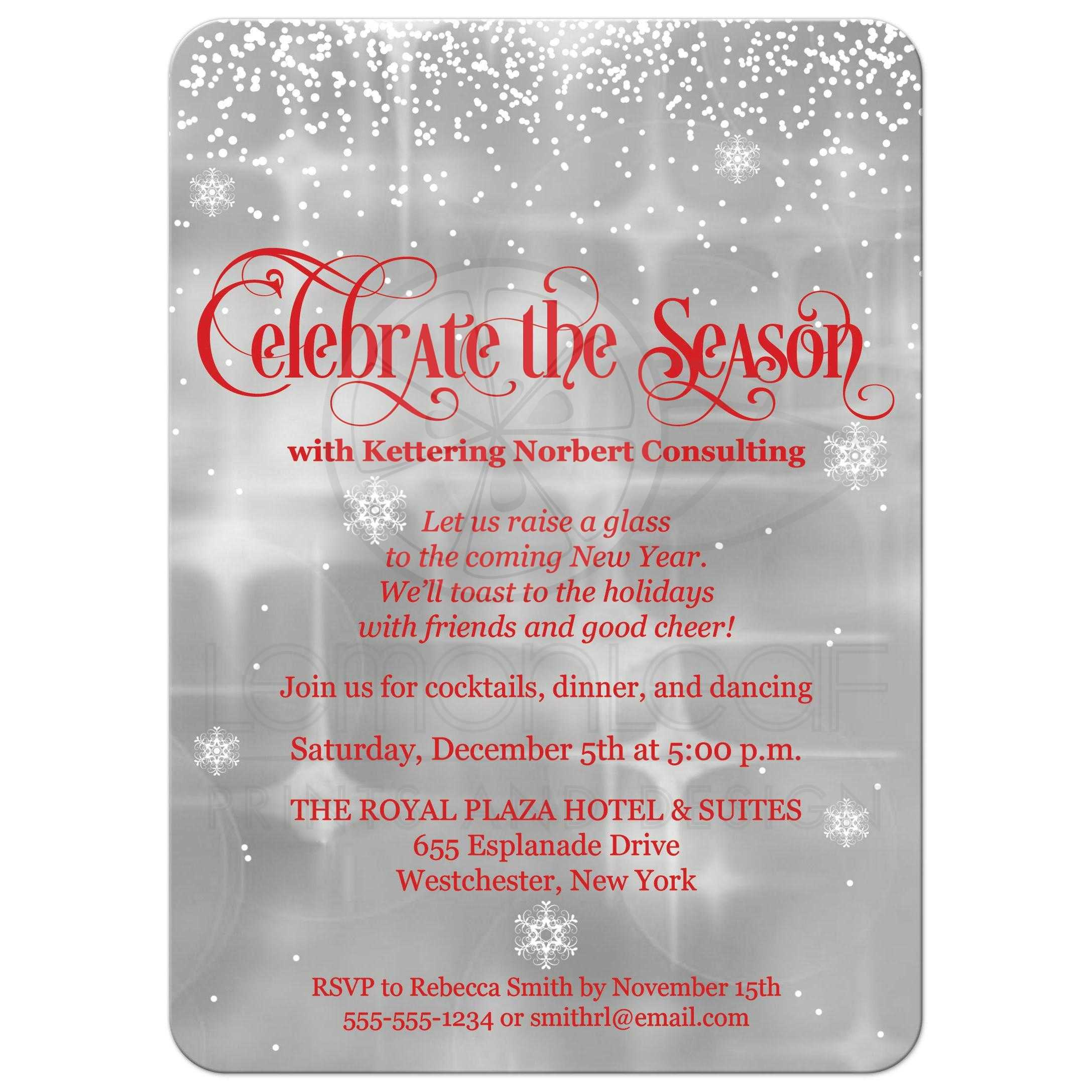 Celebrate the Season Holiday Party Invitation | Red, Gray, White ...