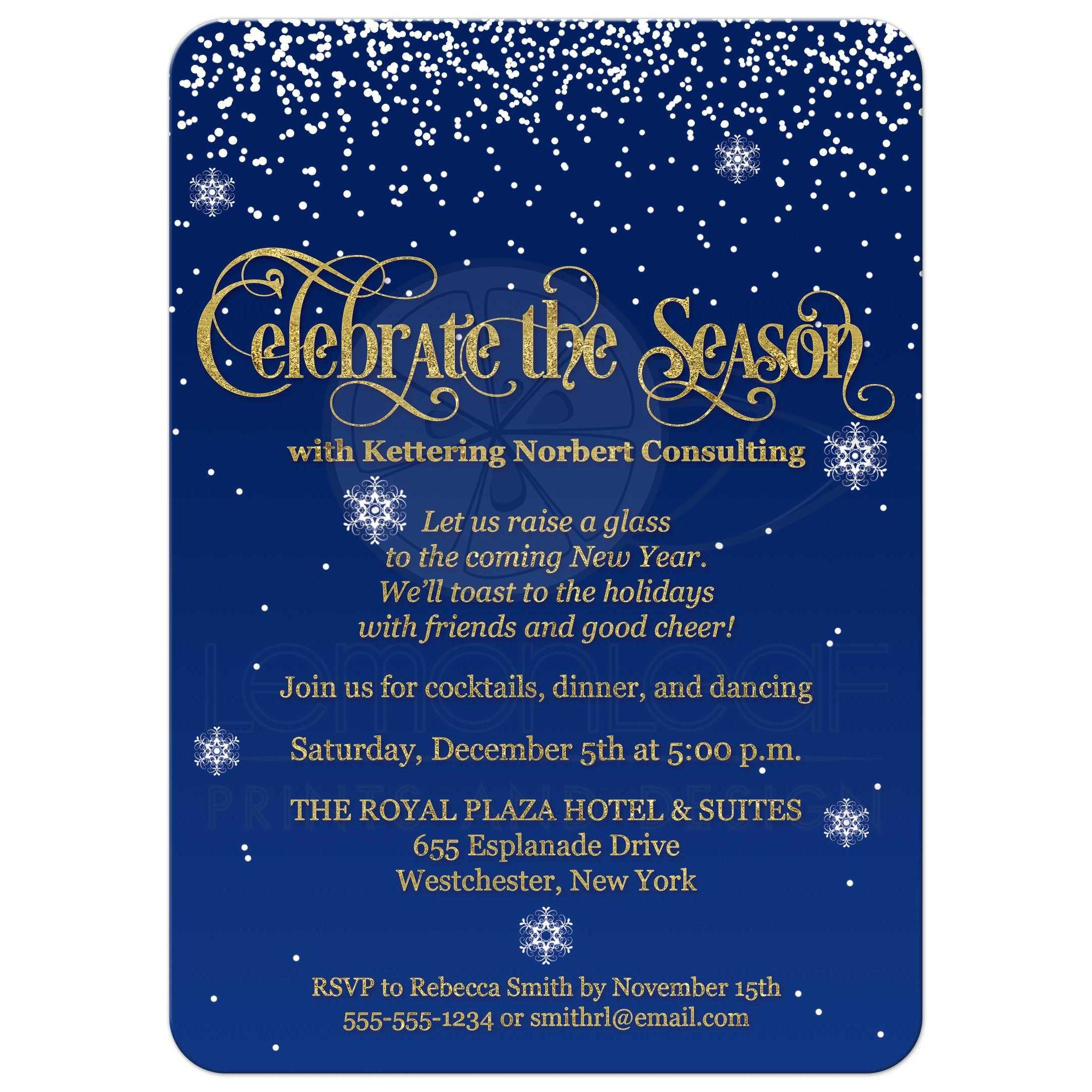 celebrate the season corporate party invite navy gold faux foil glitter falling snow. Black Bedroom Furniture Sets. Home Design Ideas