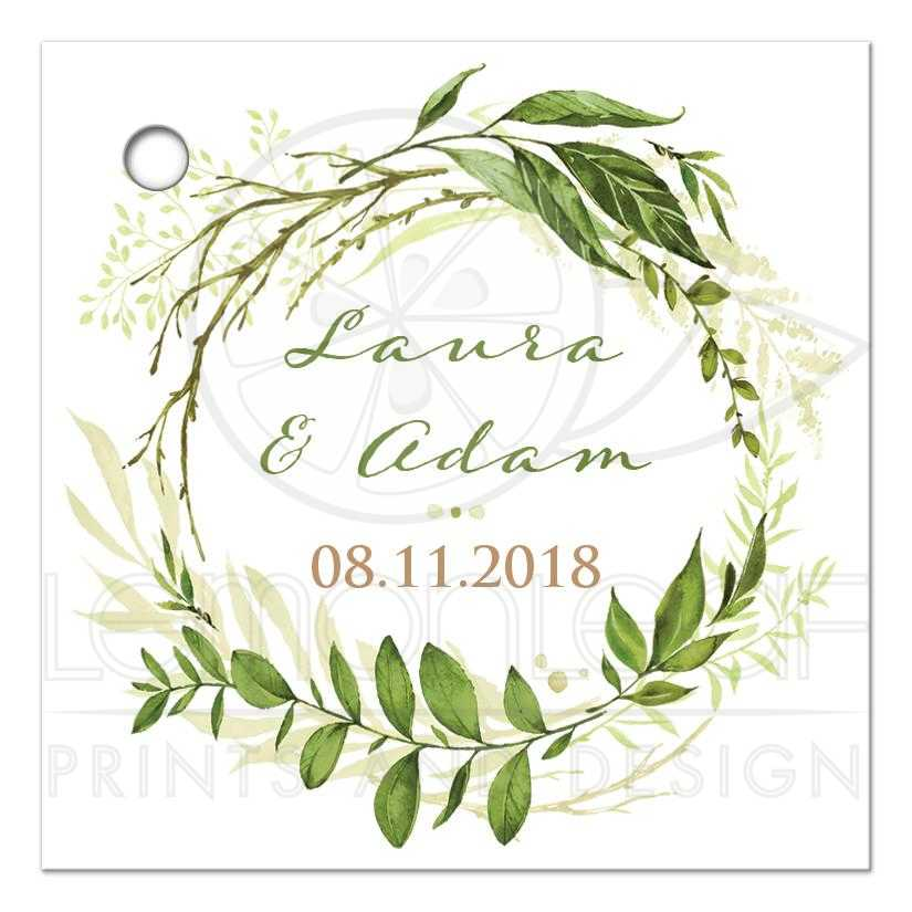 51137_GiftTagFront_Greenery Foliage Leaves Boughs Wreath Wedding Favor Tag 2
