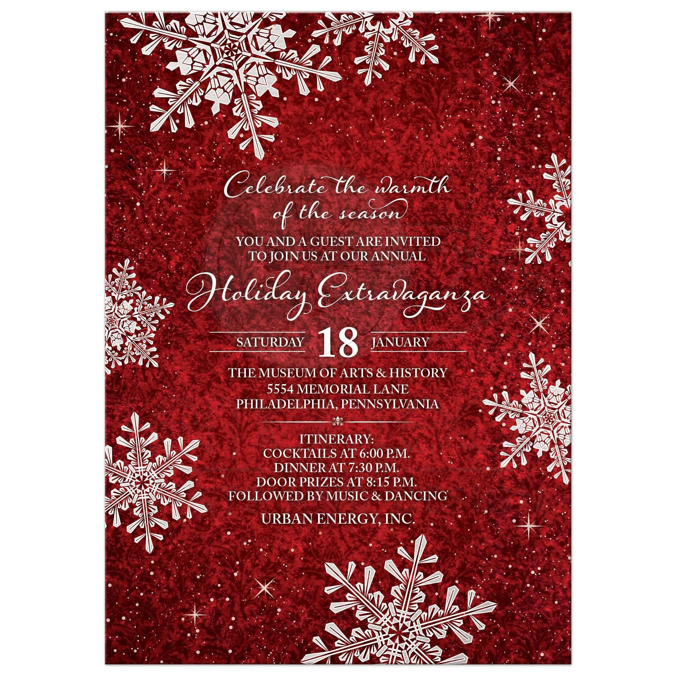 Red And White Simulated Velvet Snowflake Christmas Holiday Or Corporate  Winter Party Invitation Front  Corporate Party Invitation Template